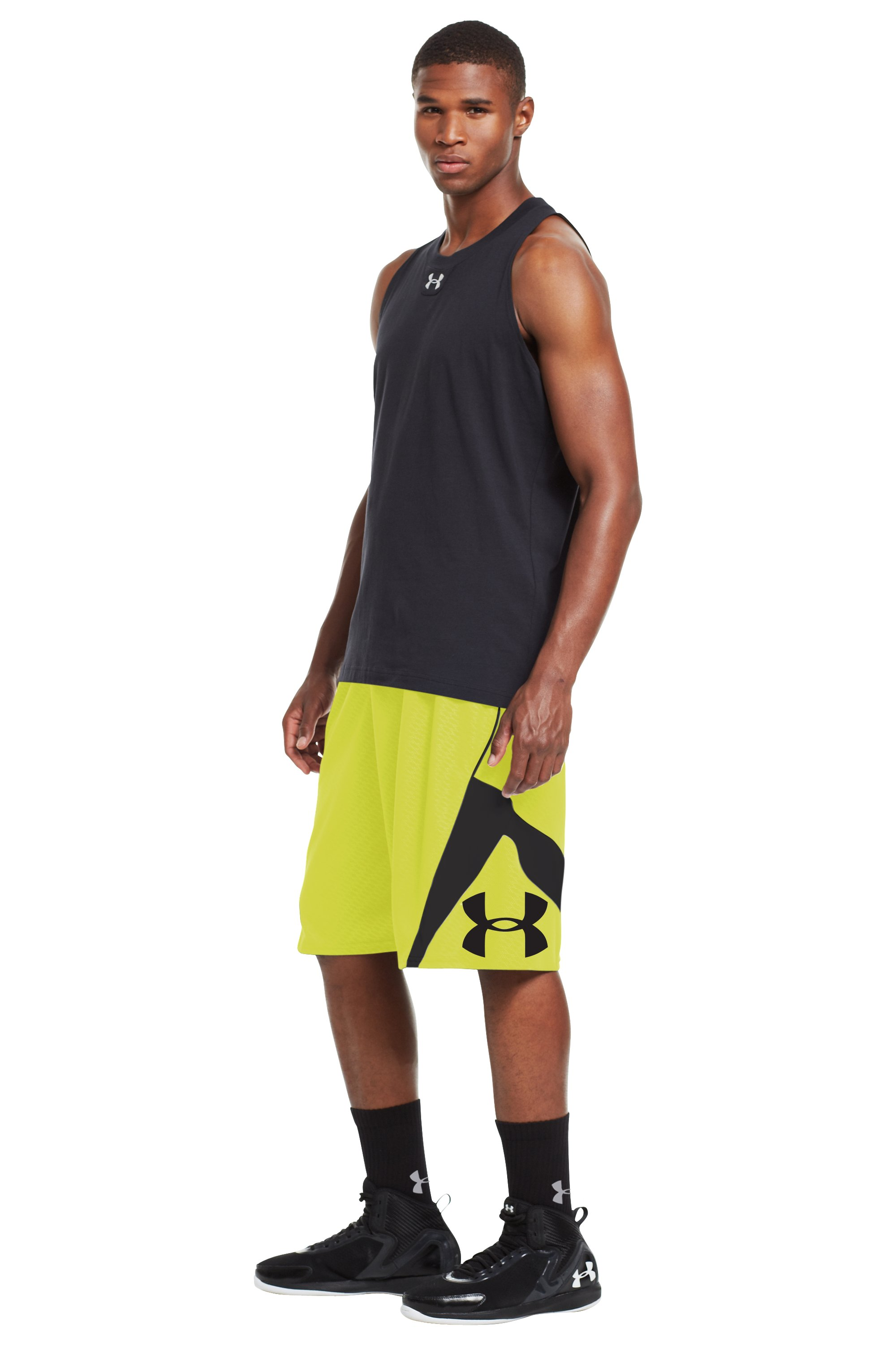 Men's UA EZ Mon-Knee Printed Basketball Shorts, High-Vis Yellow, zoomed image