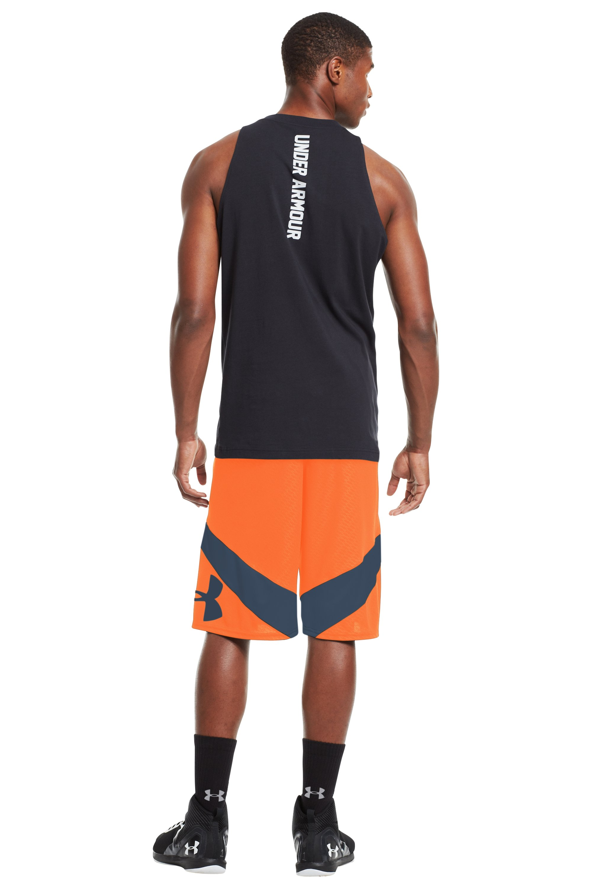 Men's UA EZ Mon-Knee Printed Basketball Shorts, Blaze Orange, Back