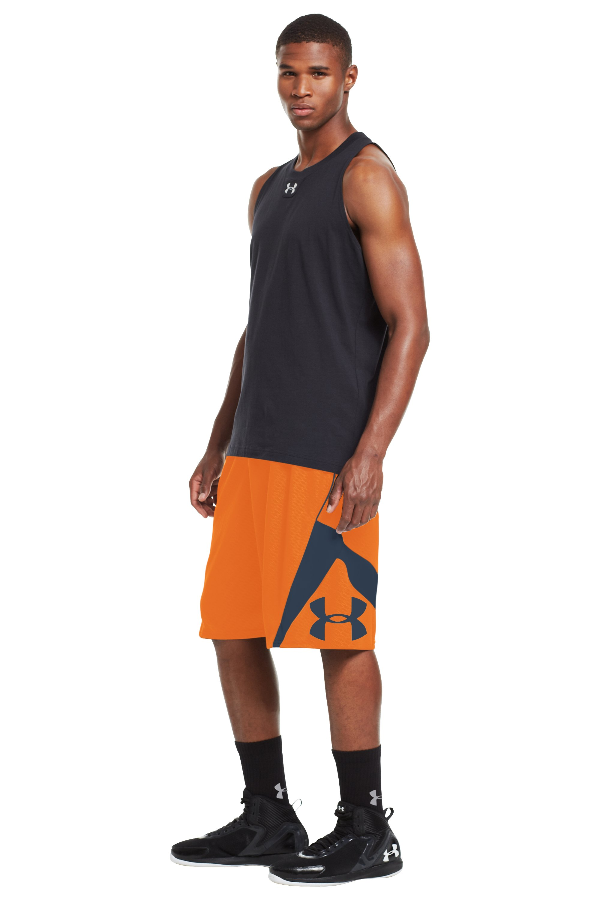 Men's UA EZ Mon-Knee Printed Basketball Shorts, Blaze Orange, zoomed image