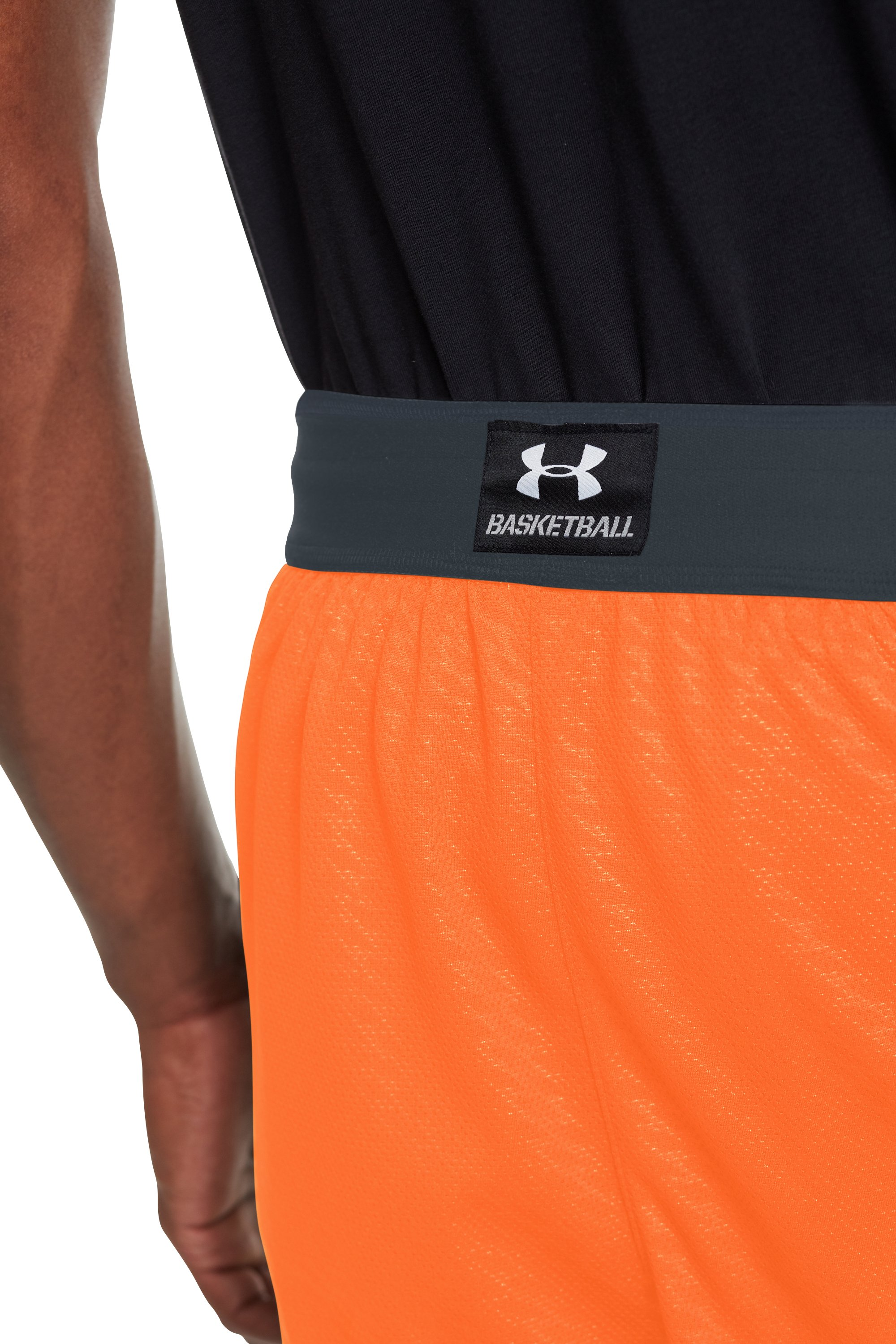 Men's UA EZ Mon-Knee Printed Basketball Shorts, Blaze Orange