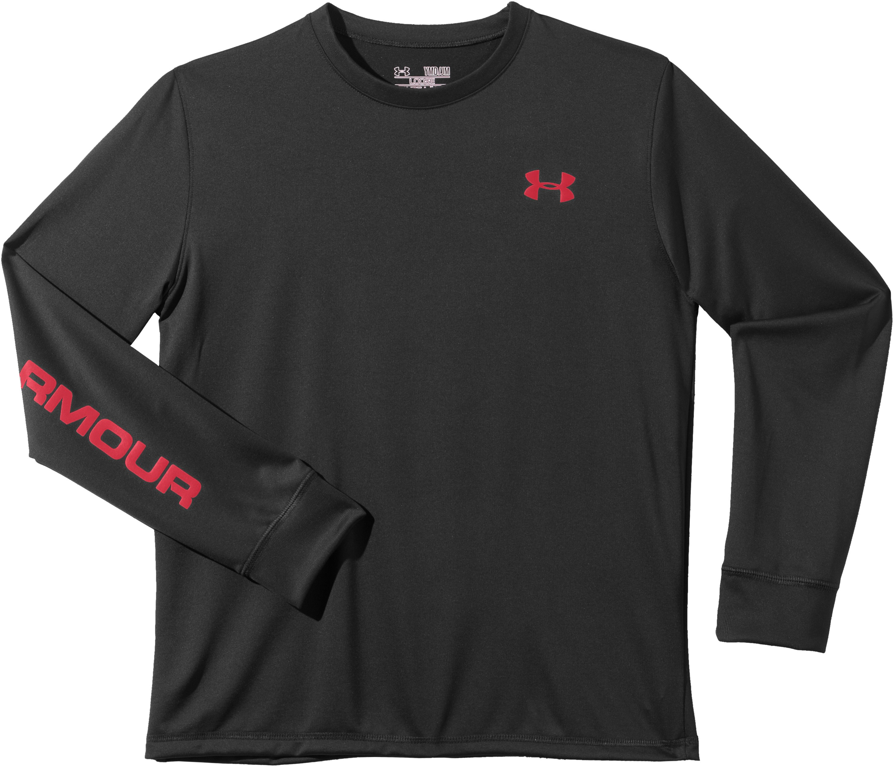 Boys' UA Cray Long Sleeve T-Shirt, Black , Laydown