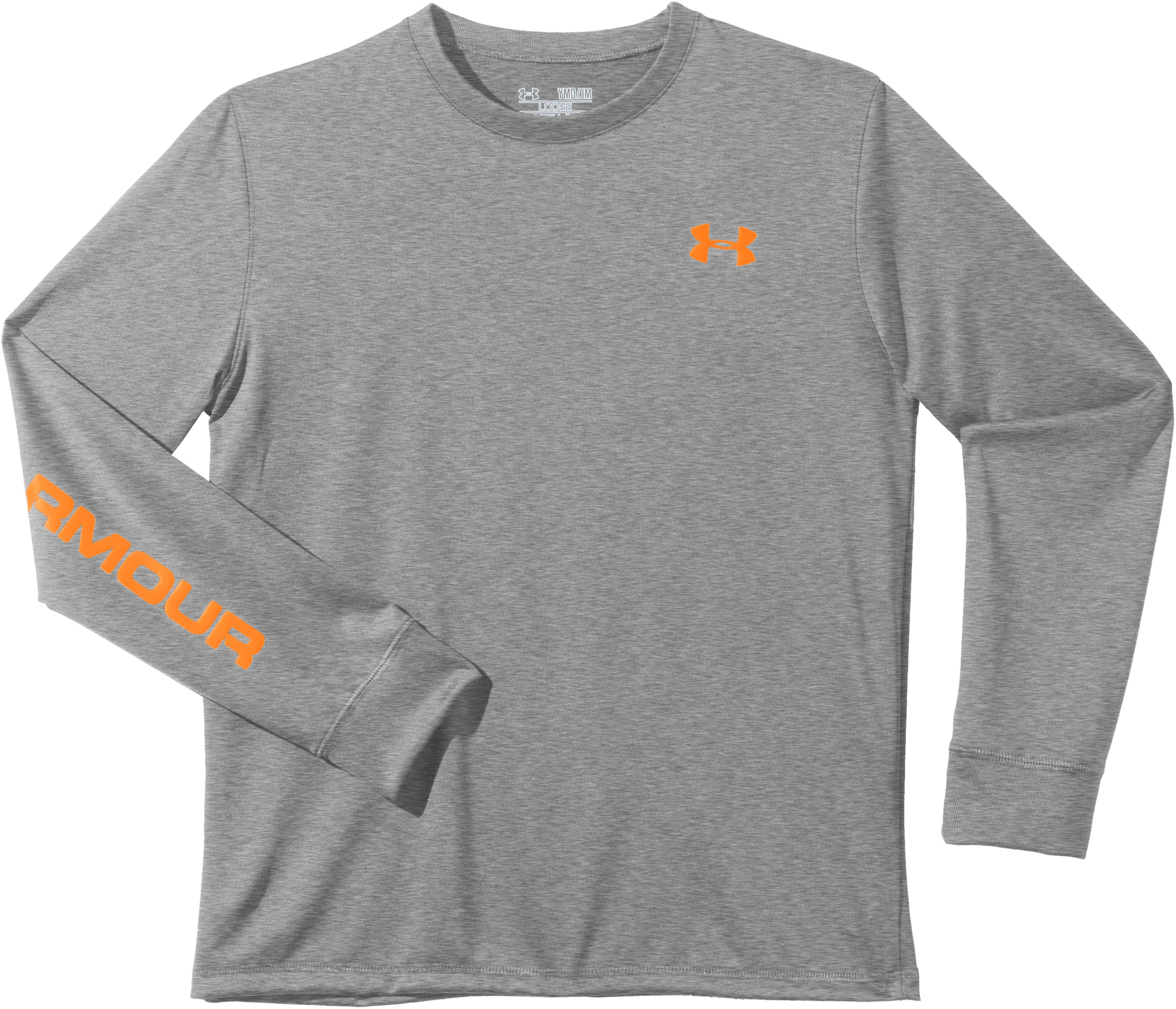 Boys' UA Cray Long Sleeve T-Shirt, True Gray Heather, Laydown