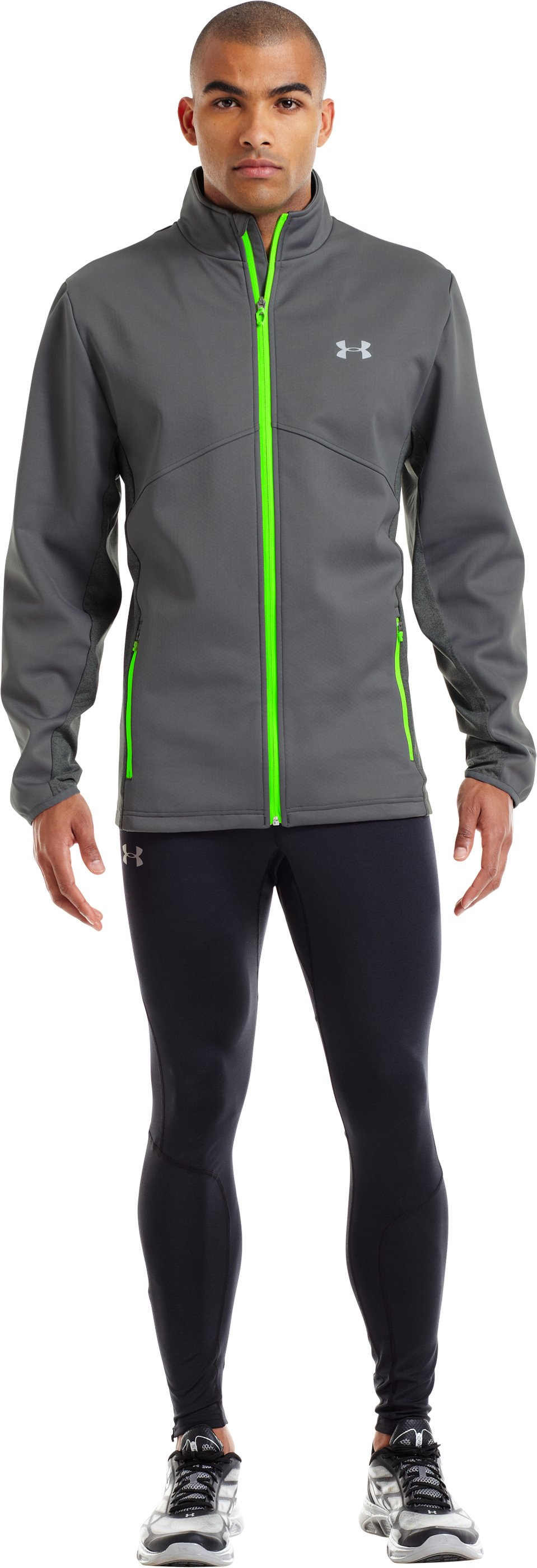 Men's ColdGear® Infrared Storm Run Jacket, Graphite, Front