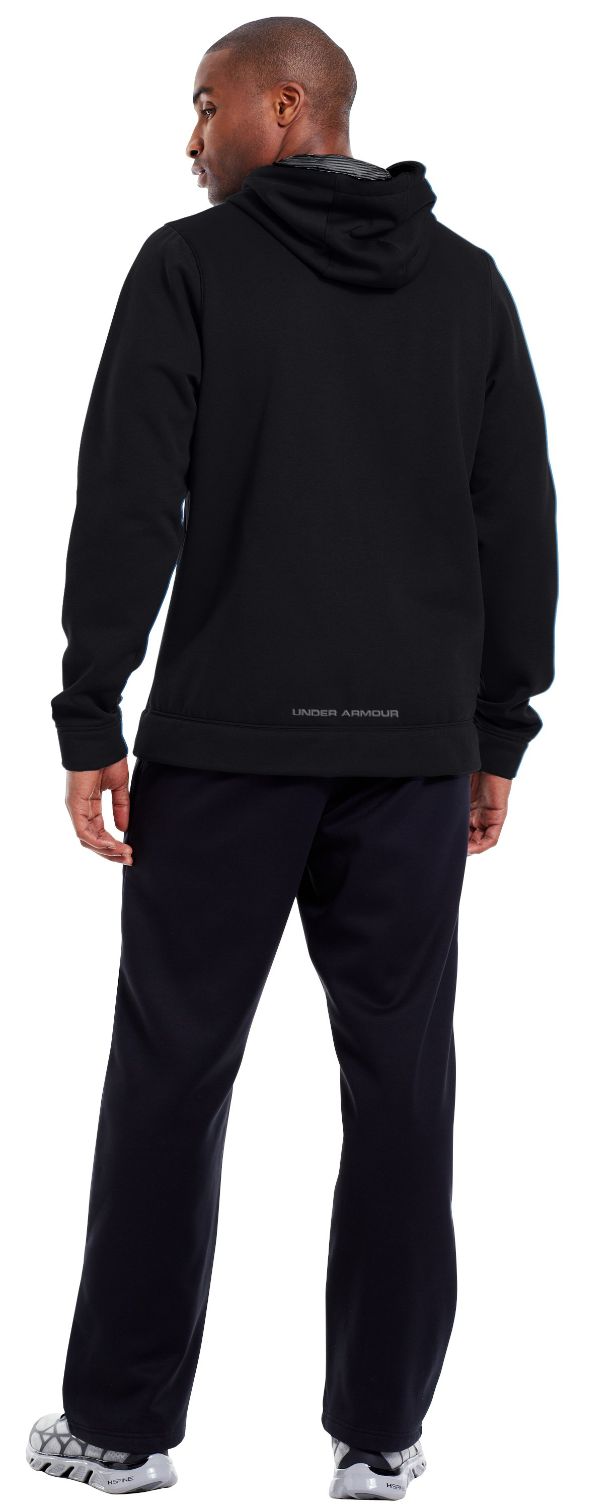 Men's Armour® Fleece Storm Outline Big Logo Hoodie, Black , Back