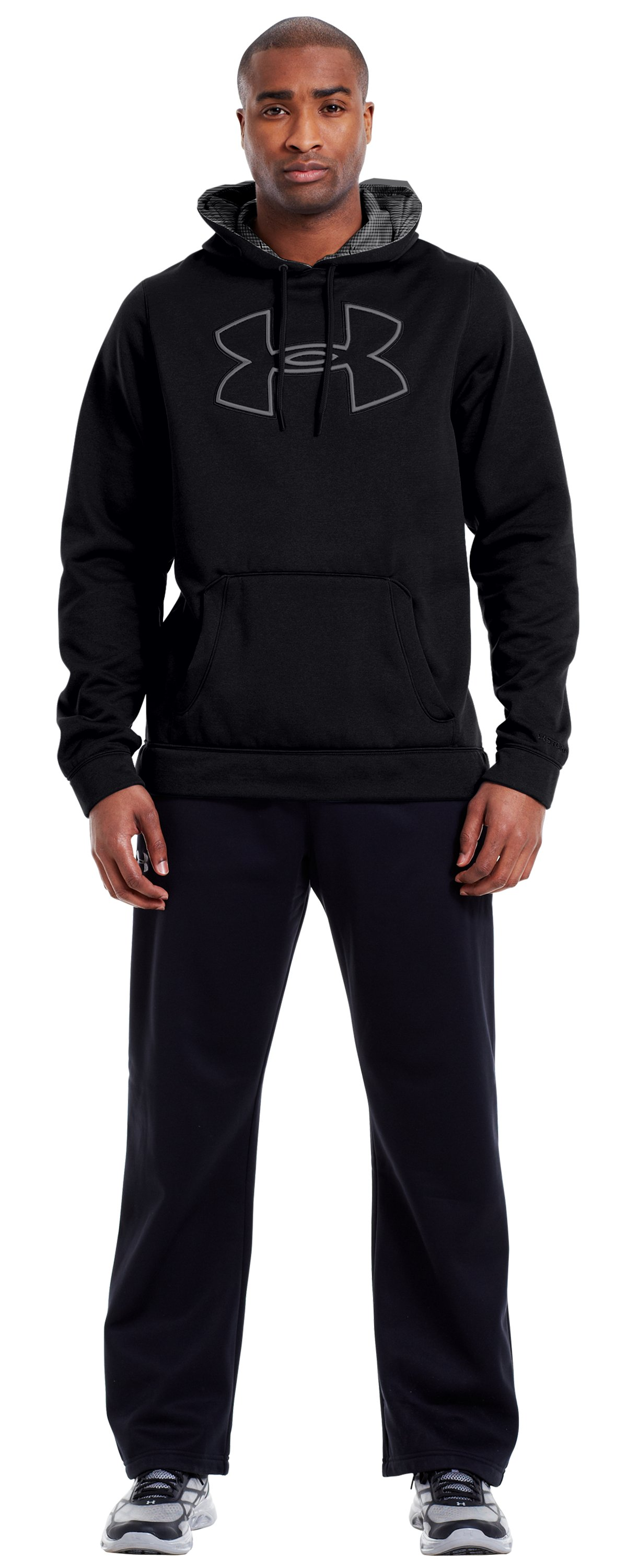 Men's Armour® Fleece Storm Outline Big Logo Hoodie, Black , Front