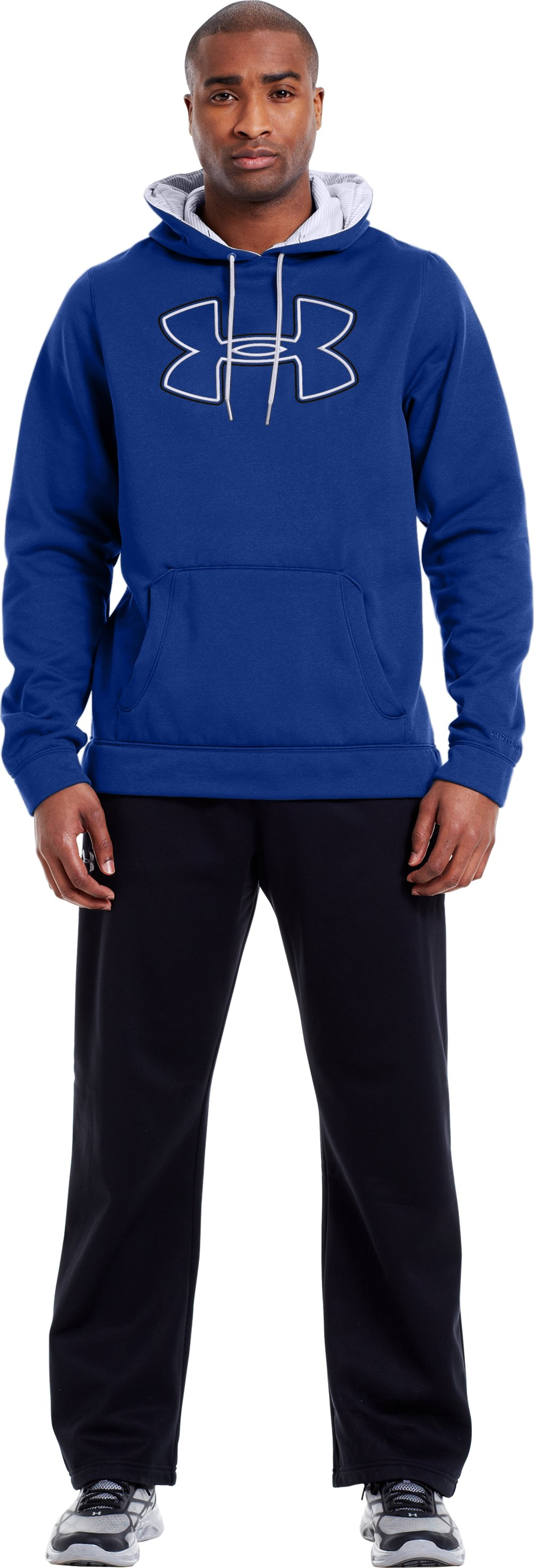 Men's Armour® Fleece Storm Outline Big Logo Hoodie, Royal, Front
