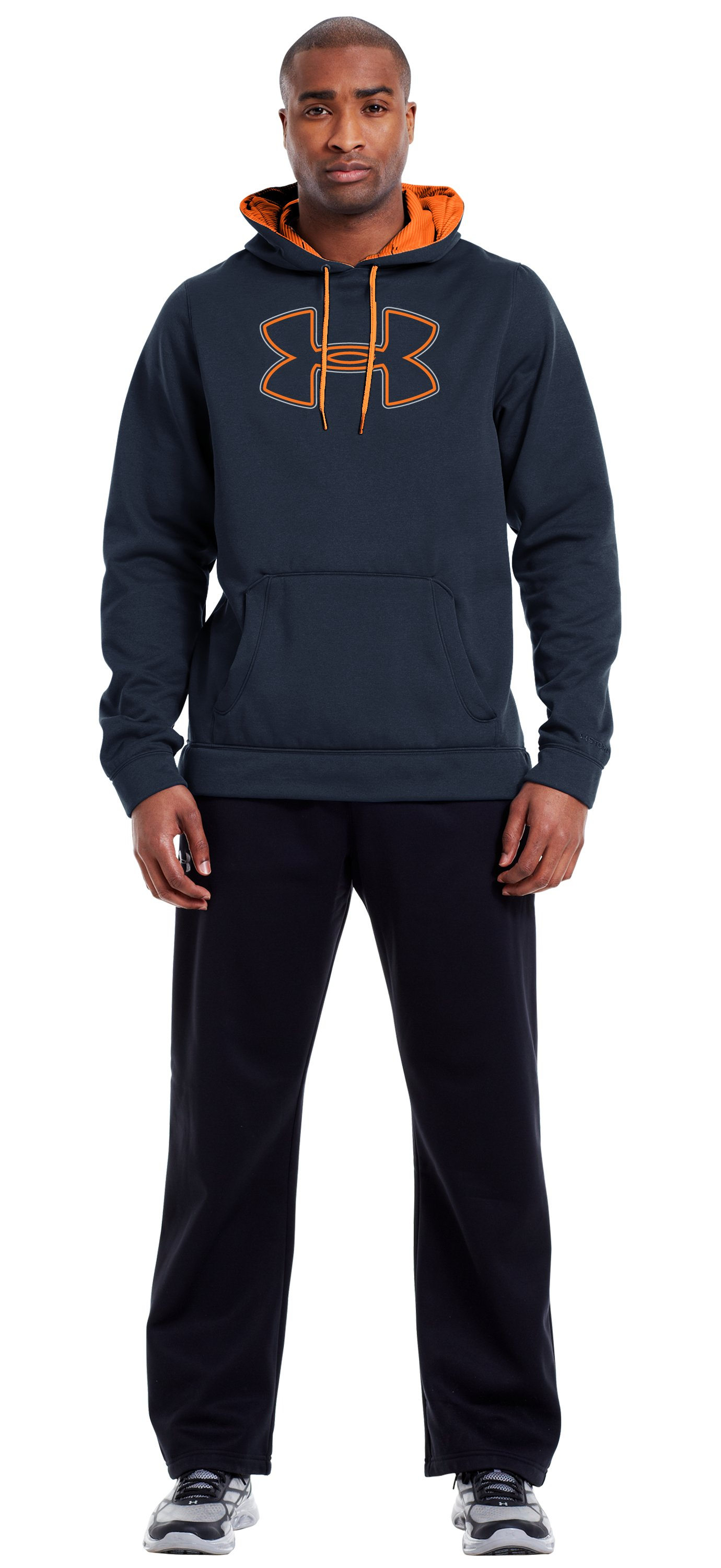 Men's Armour® Fleece Storm Outline Big Logo Hoodie, Cadet, Front