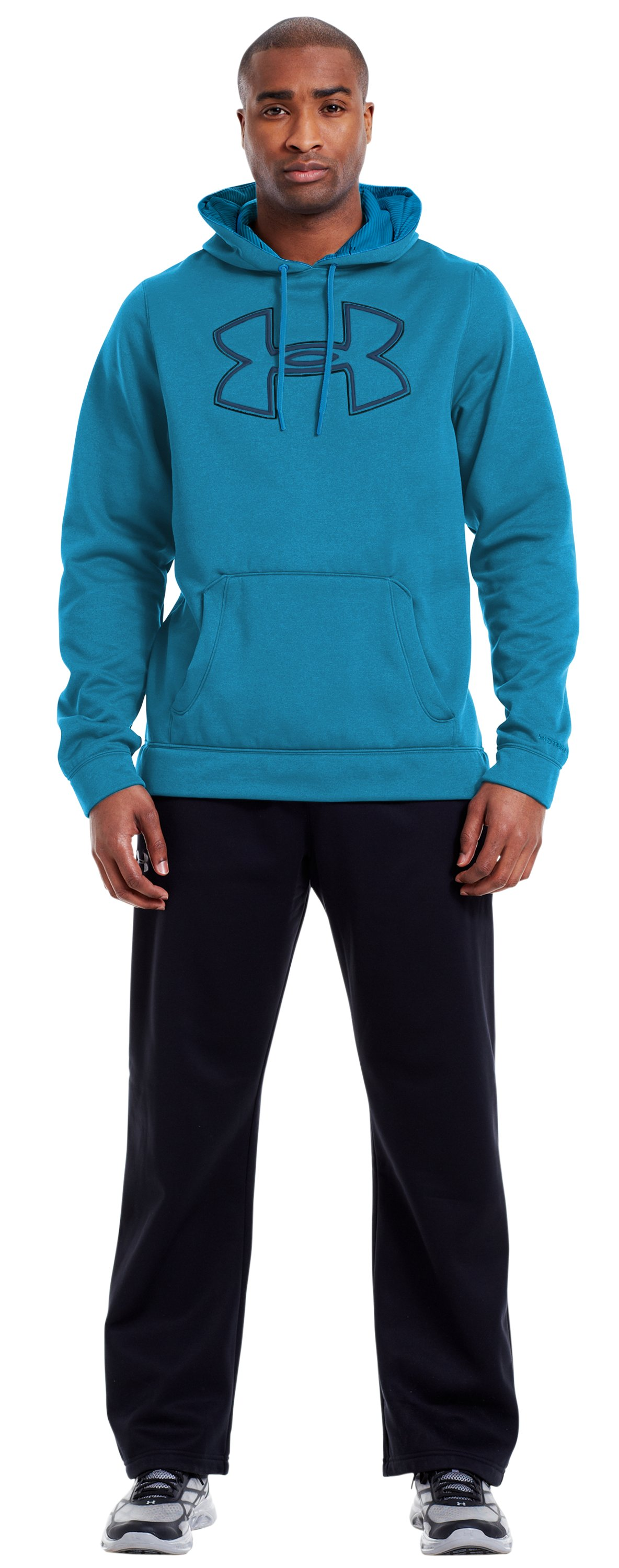 Men's Armour® Fleece Storm Outline Big Logo Hoodie, PIRATE BLUE, zoomed image