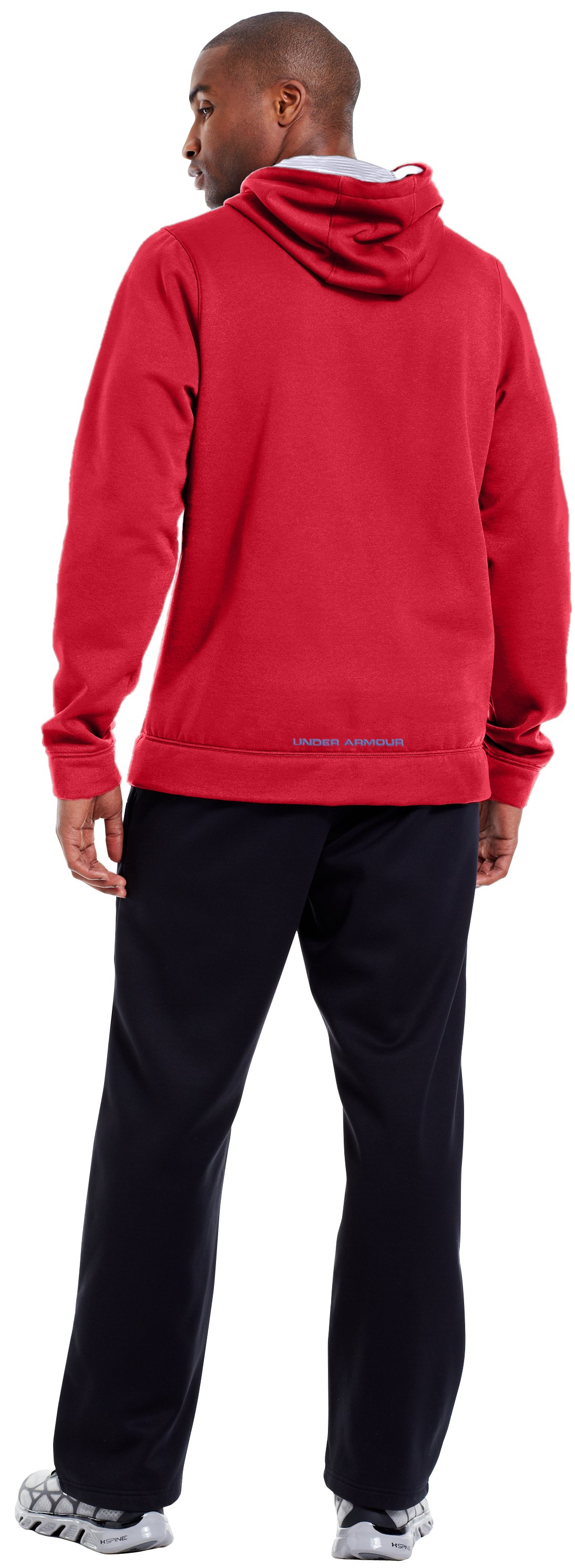 Men's Armour® Fleece Storm Outline Big Logo Hoodie, Red, Back