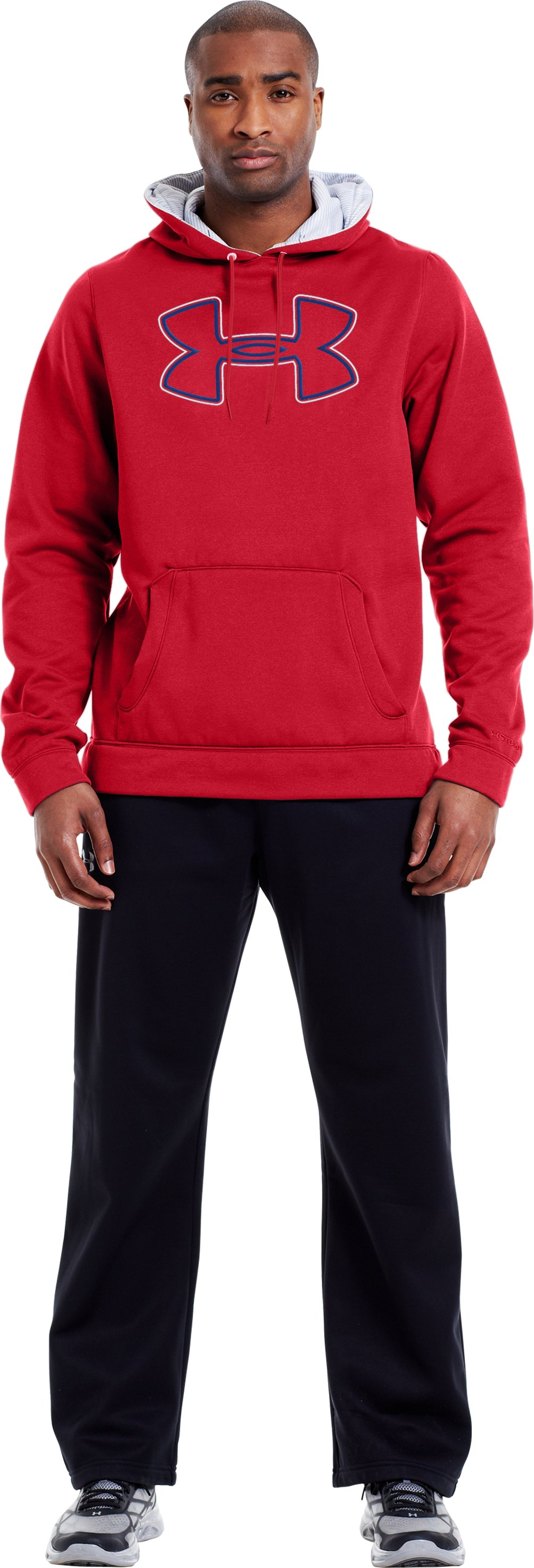 Men's Armour® Fleece Storm Outline Big Logo Hoodie, Red, Front
