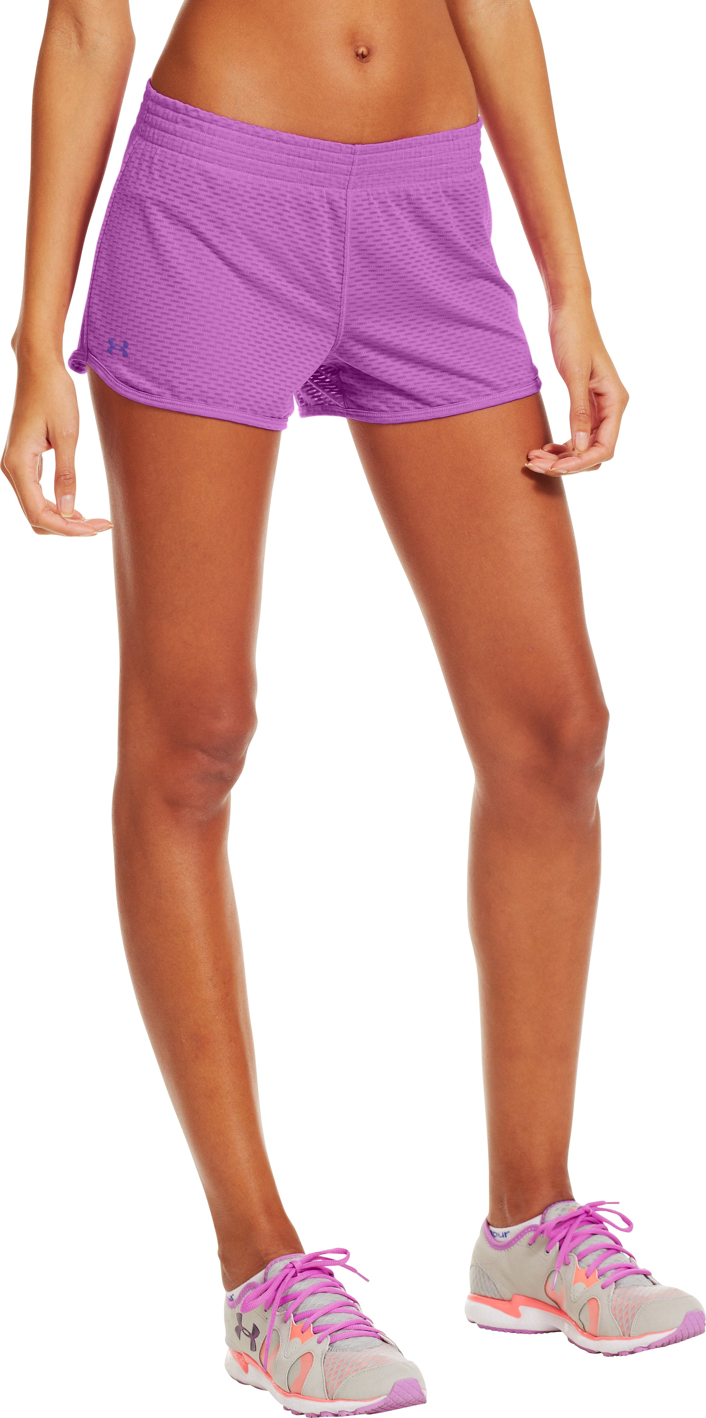 "Women's UA Fly-By Knit 3"" Short, EXOTIC BLOOM"