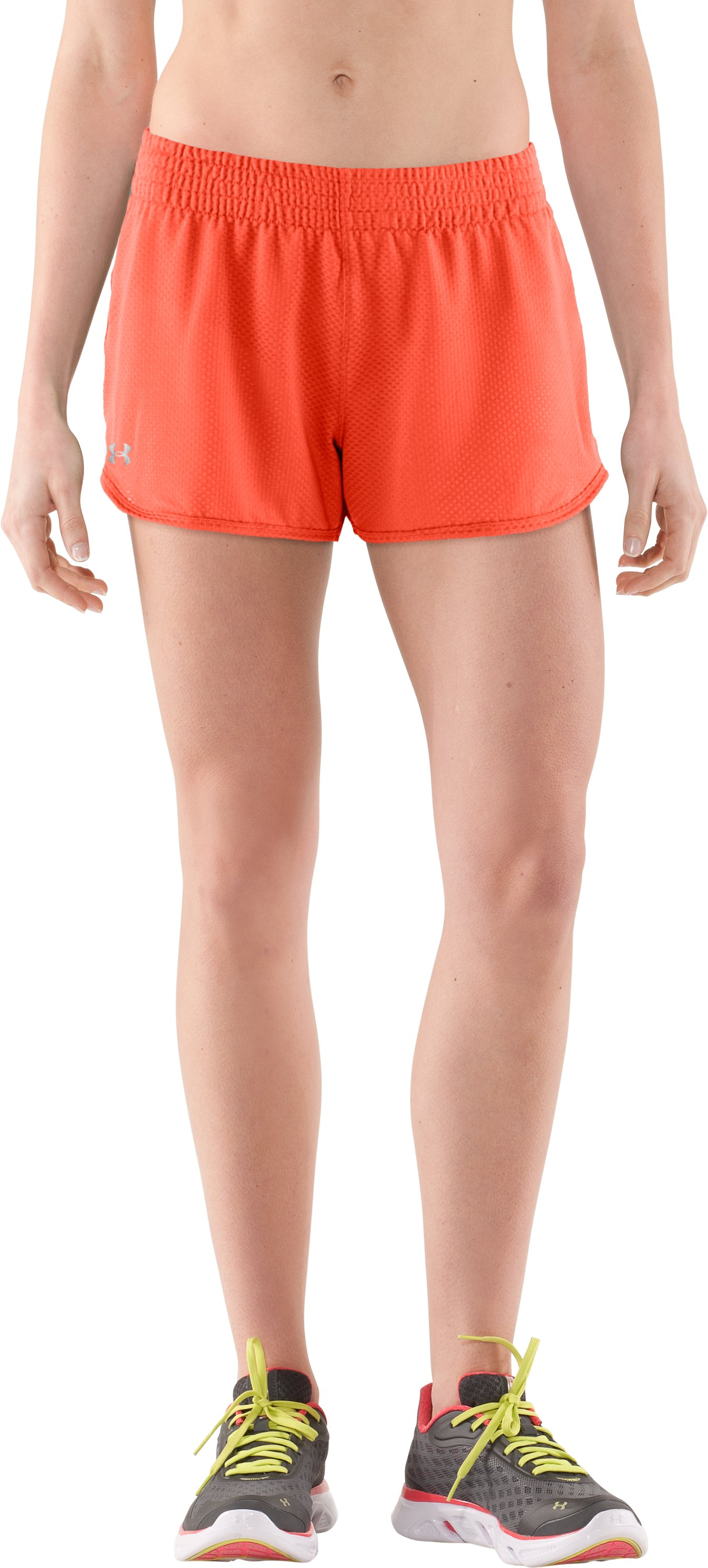 "Women's UA Fly-By Knit 3"" Short, ELECTRIC TANGERINE, zoomed image"