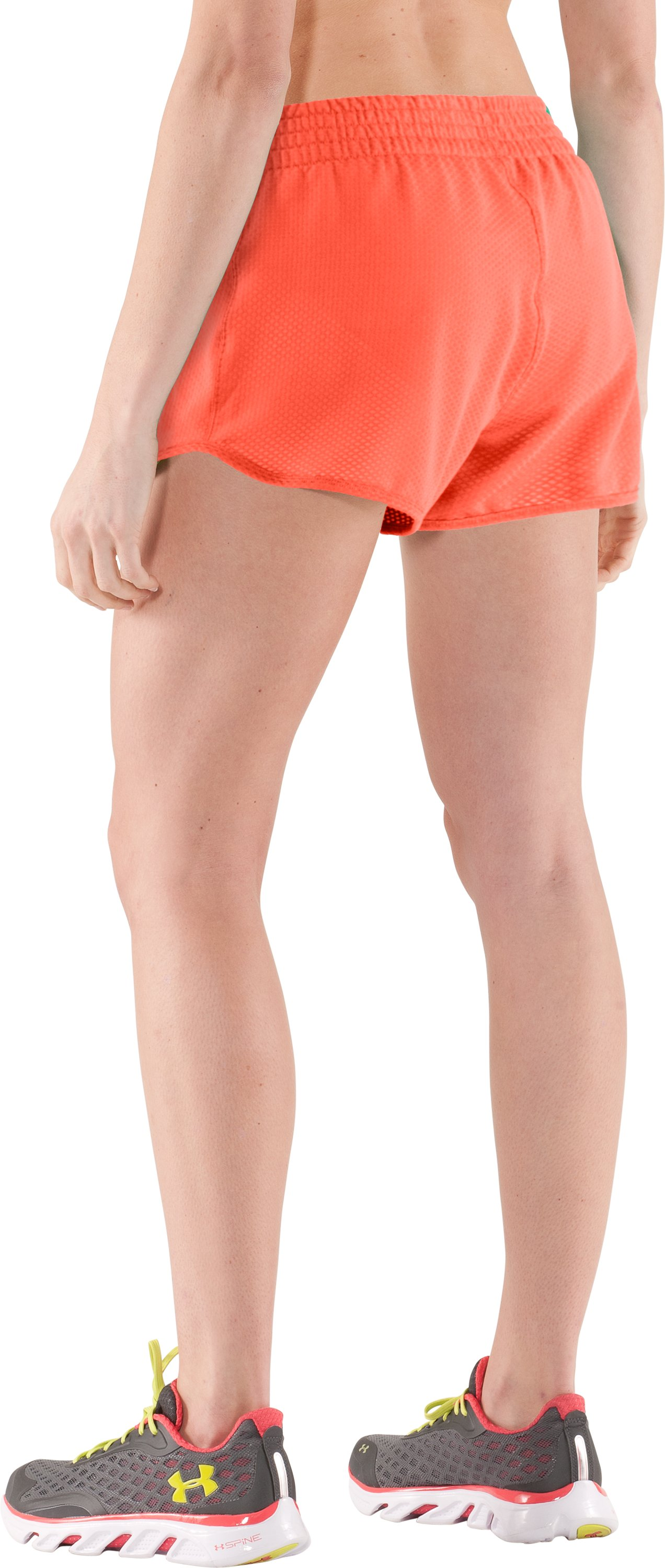 "Women's UA Fly-By Knit 3"" Short, ELECTRIC TANGERINE"