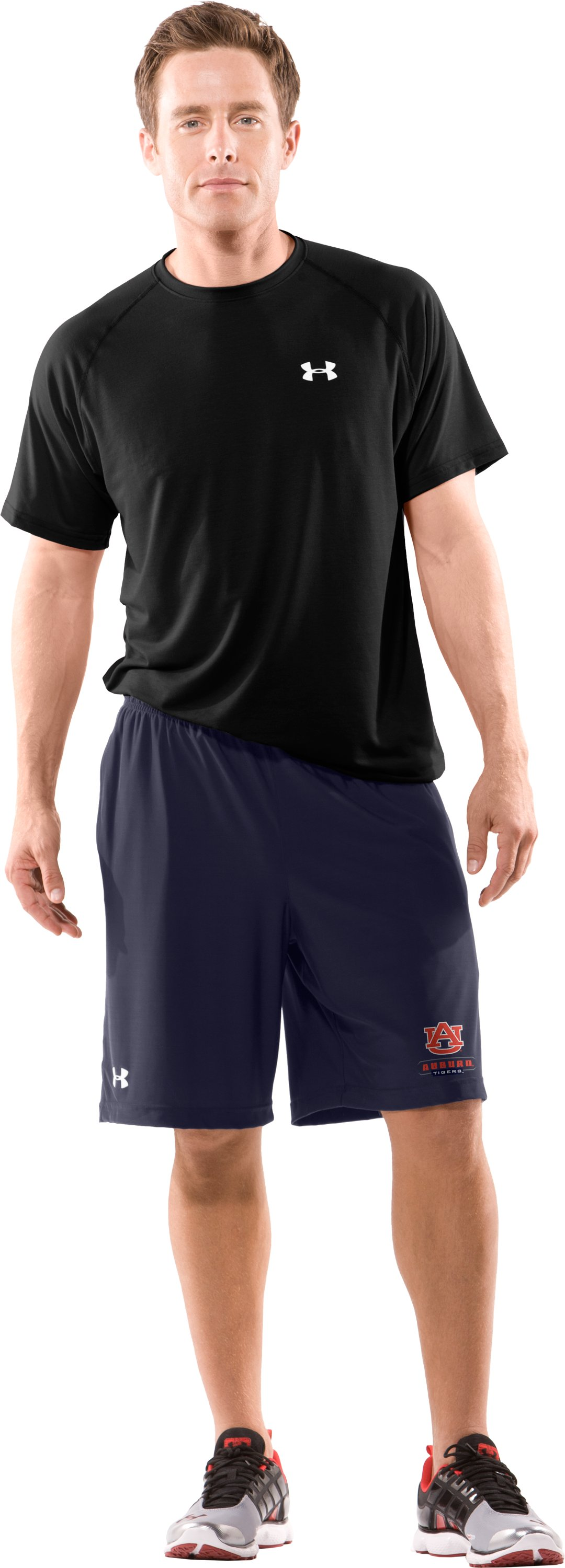 Men's Auburn UA Micro Shorts, Midnight Navy, Front