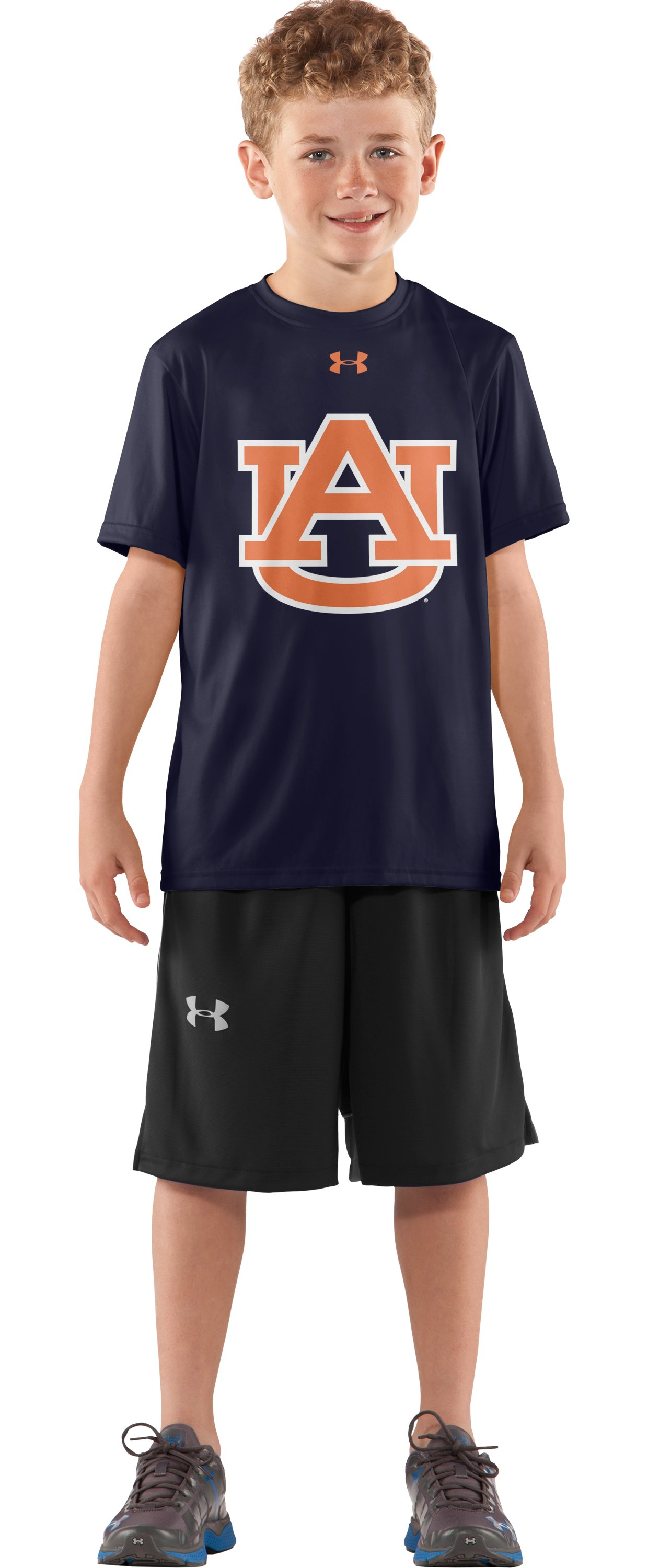 Boys' Auburn UA Tech™ T-Shirt, Midnight Navy, Front