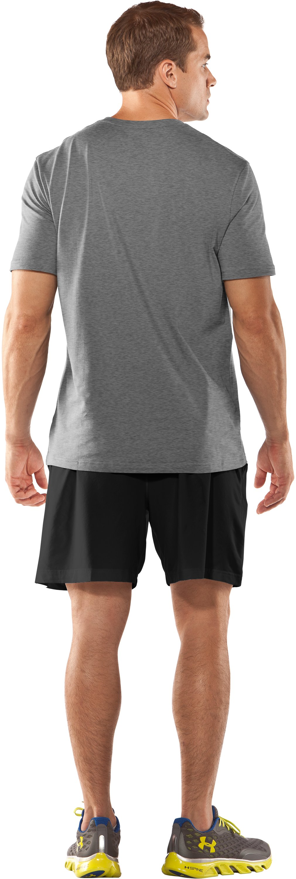 Men's UA Attack Every Mile T-Shirt, True Gray Heather, Back