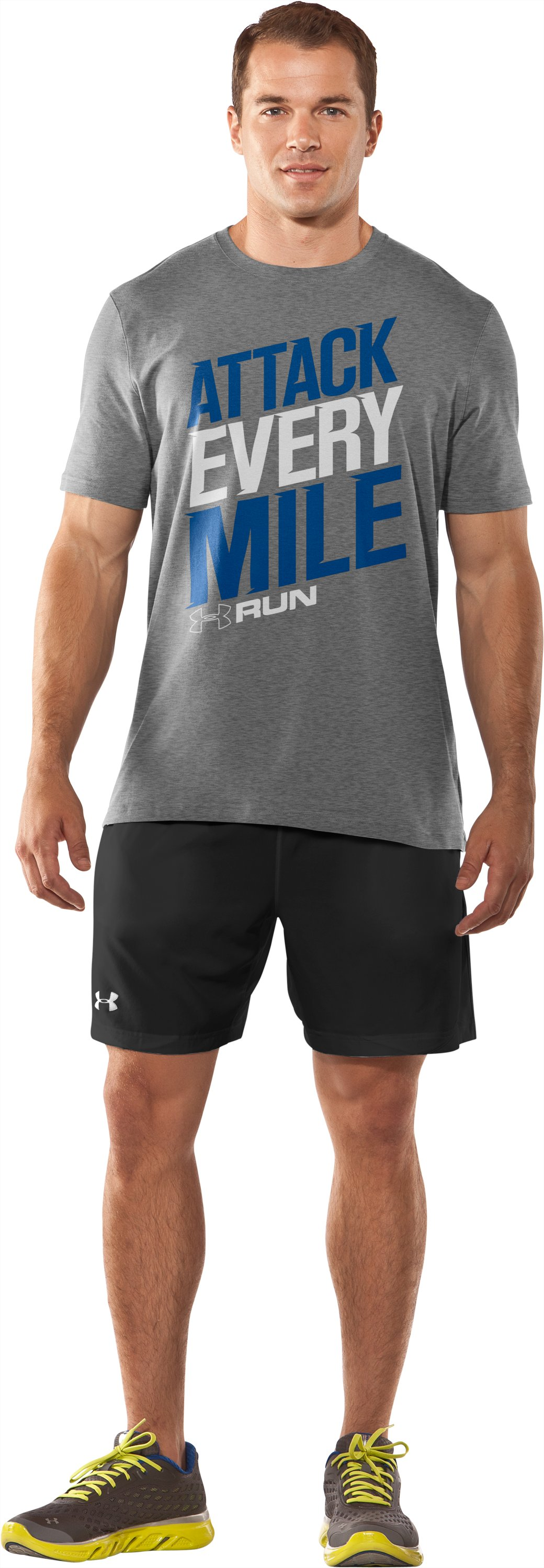 Men's UA Attack Every Mile T-Shirt, True Gray Heather, Front