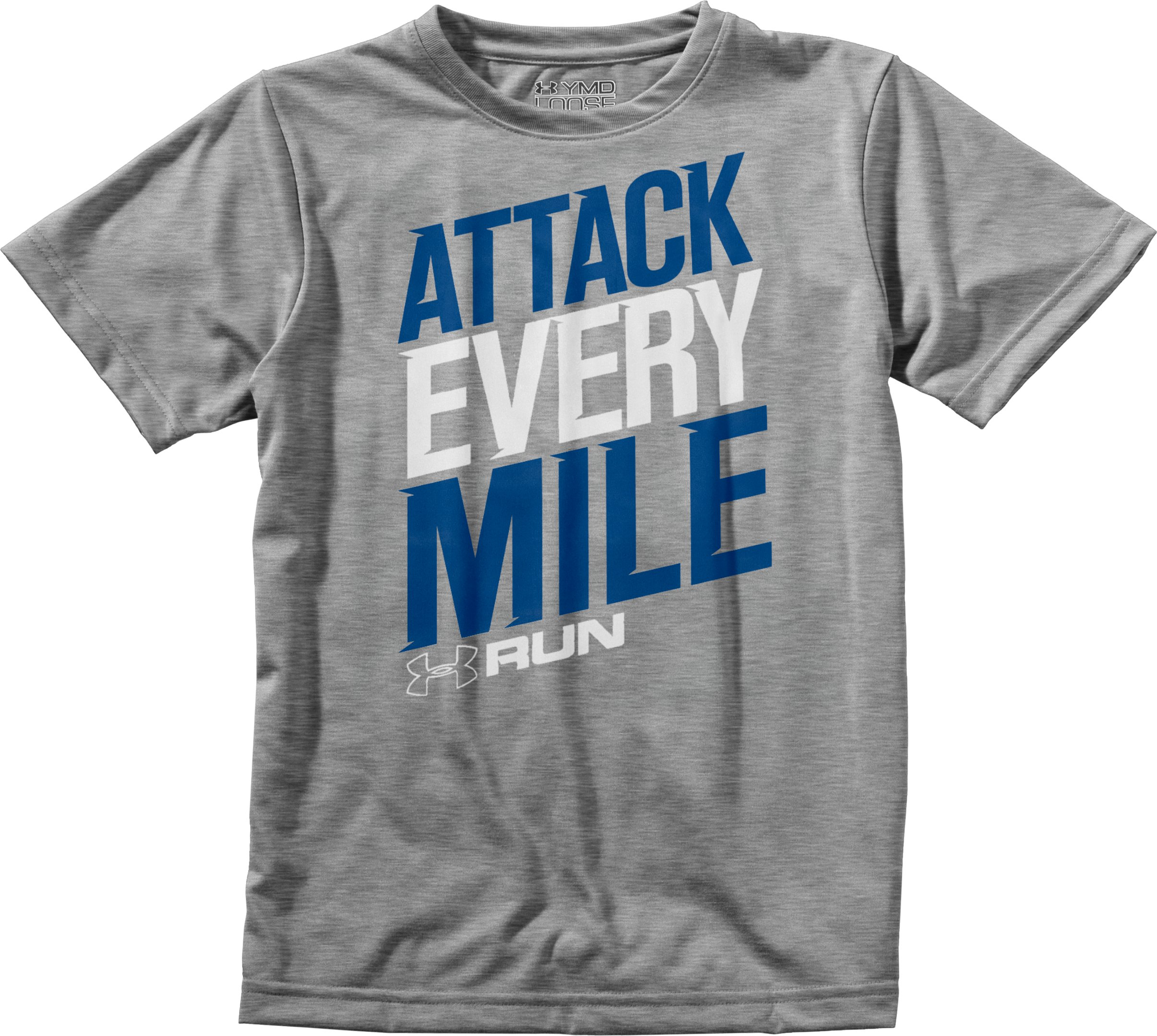 Men's UA Attack Every Mile T-Shirt, True Gray Heather, Laydown