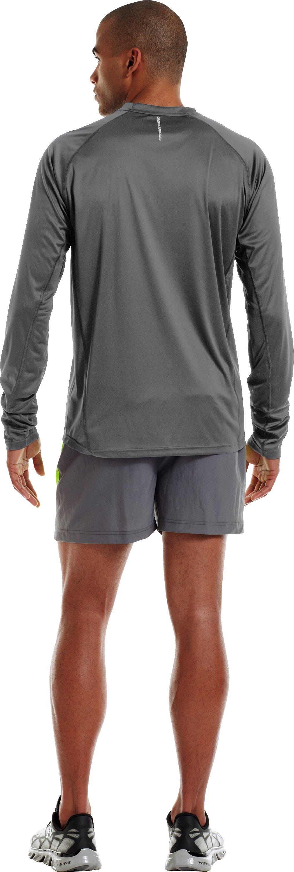Men's HeatGear® Flyweight Run Long Sleeve, Graphite, Back