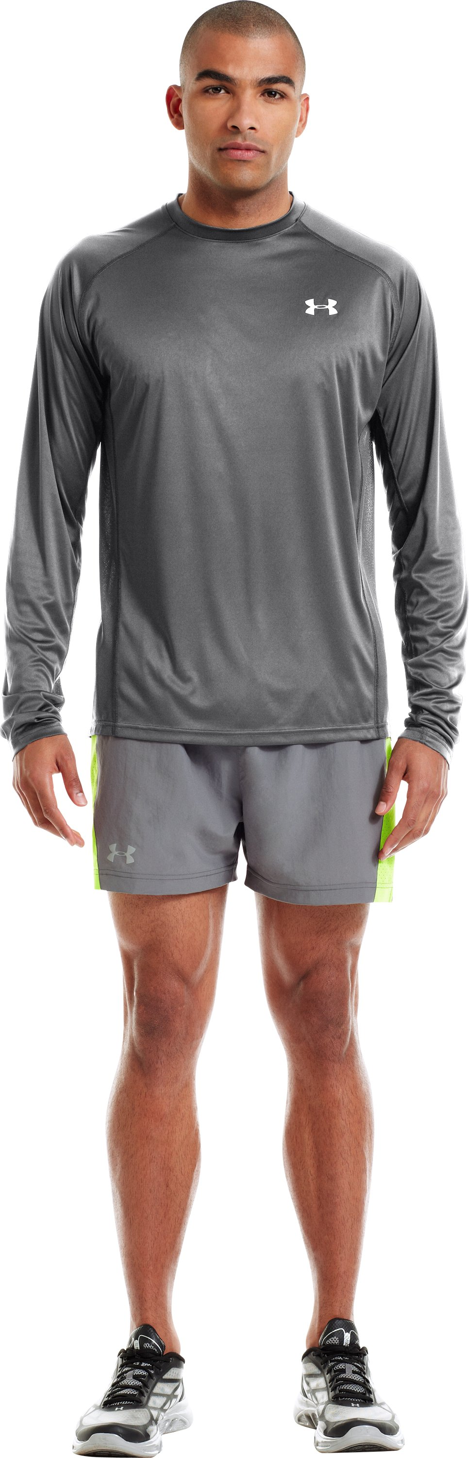 Men's HeatGear® Flyweight Run Long Sleeve, Graphite, zoomed image