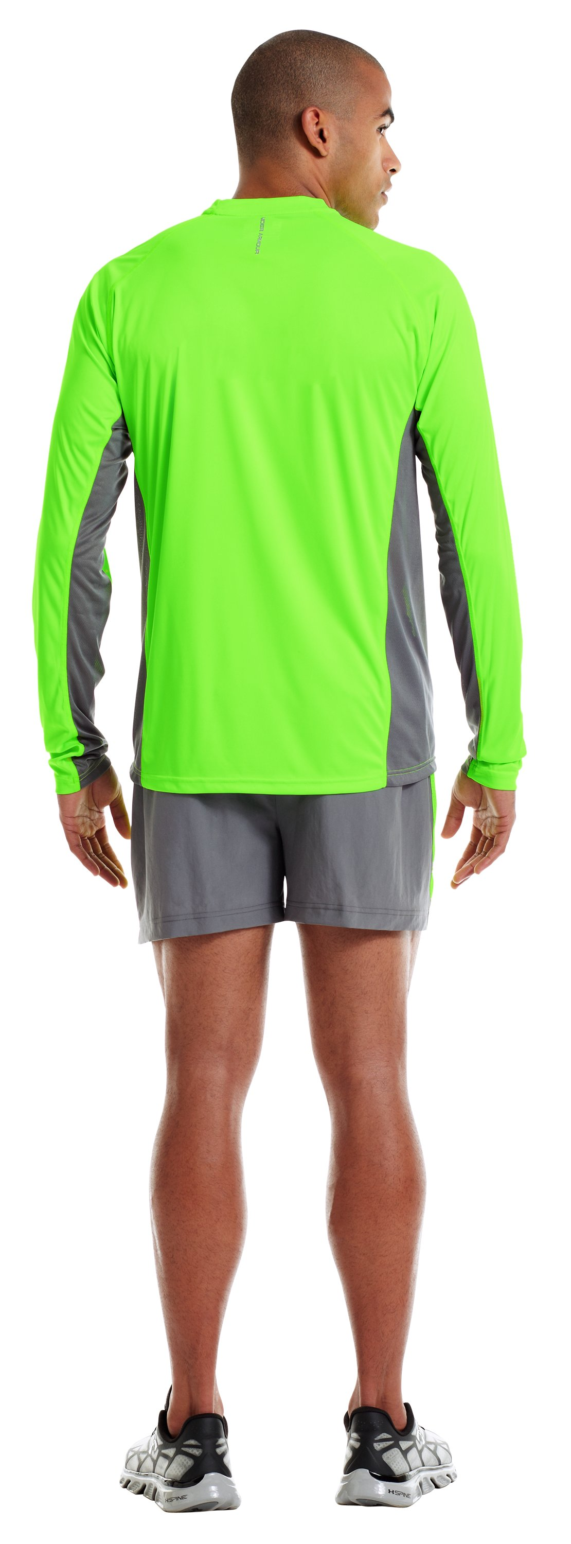 Men's HeatGear® Flyweight Run Long Sleeve, HYPER GREEN, Back