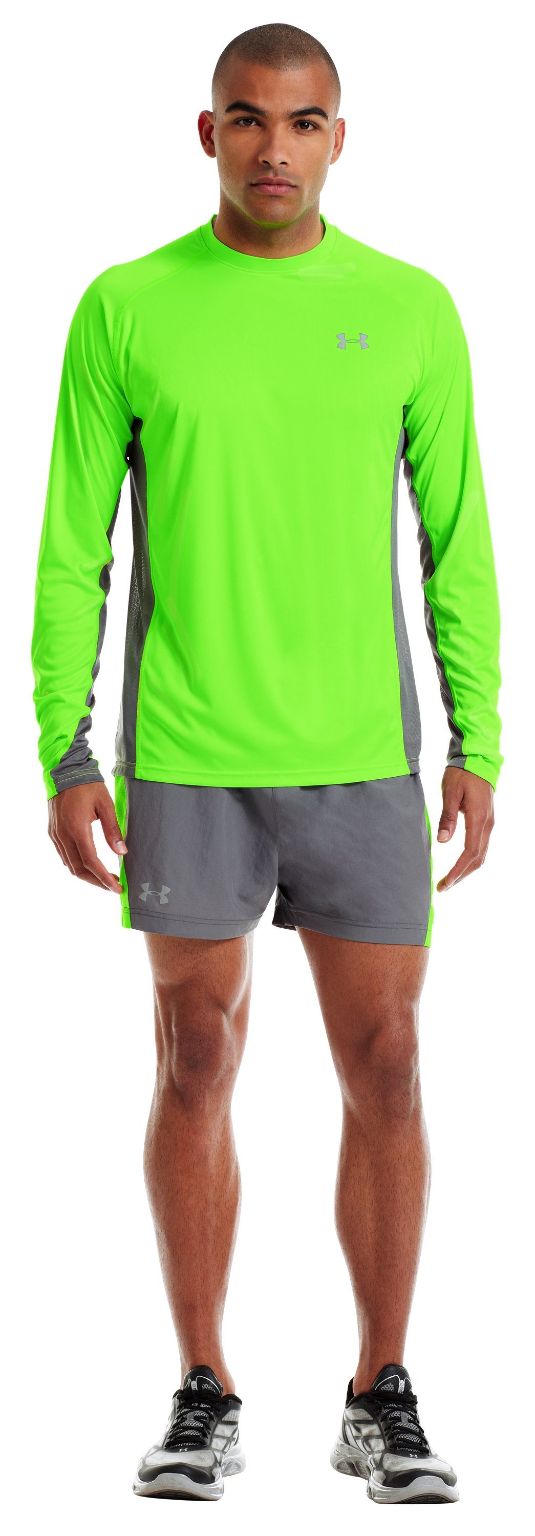 Men's HeatGear® Flyweight Run Long Sleeve, HYPER GREEN, Front