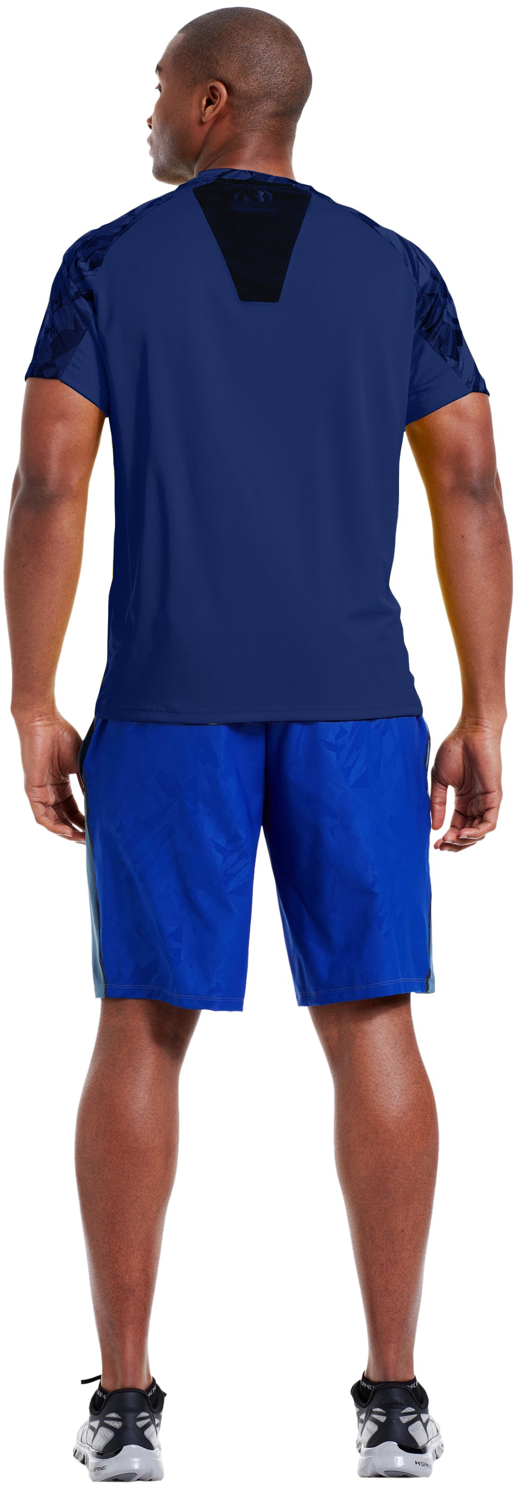 Men's UA Combine® Training Velocity Short Sleeve, Bauhaus Blue, Back