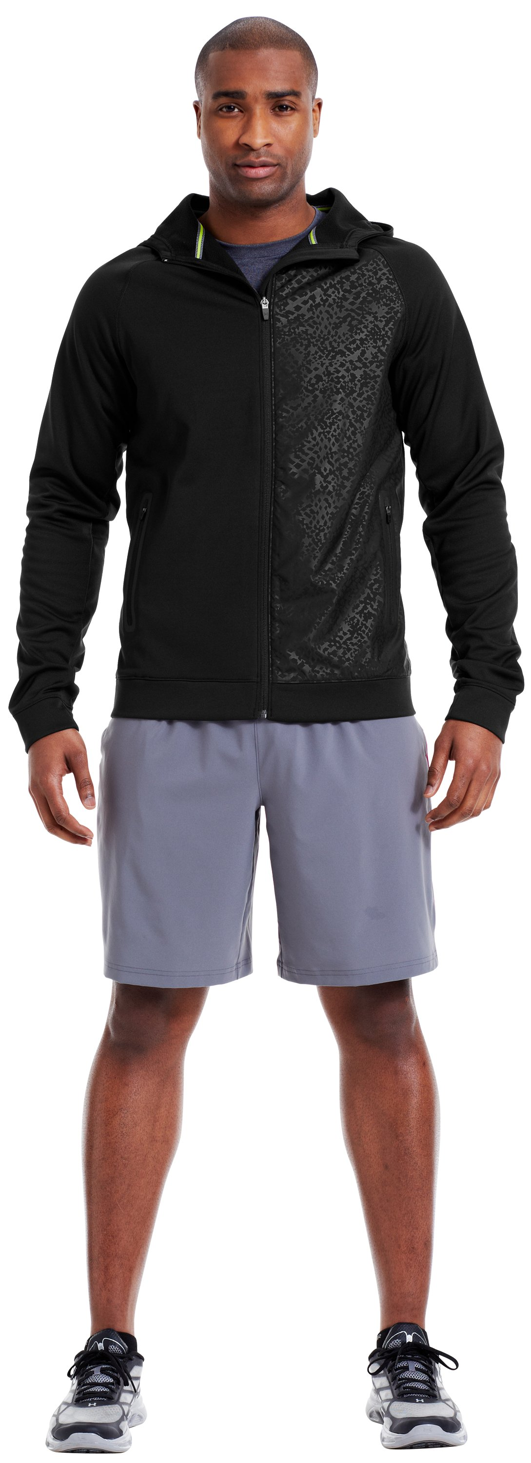 Men's UA Catalyst Fleece Salvage Hoodie, Black , Front