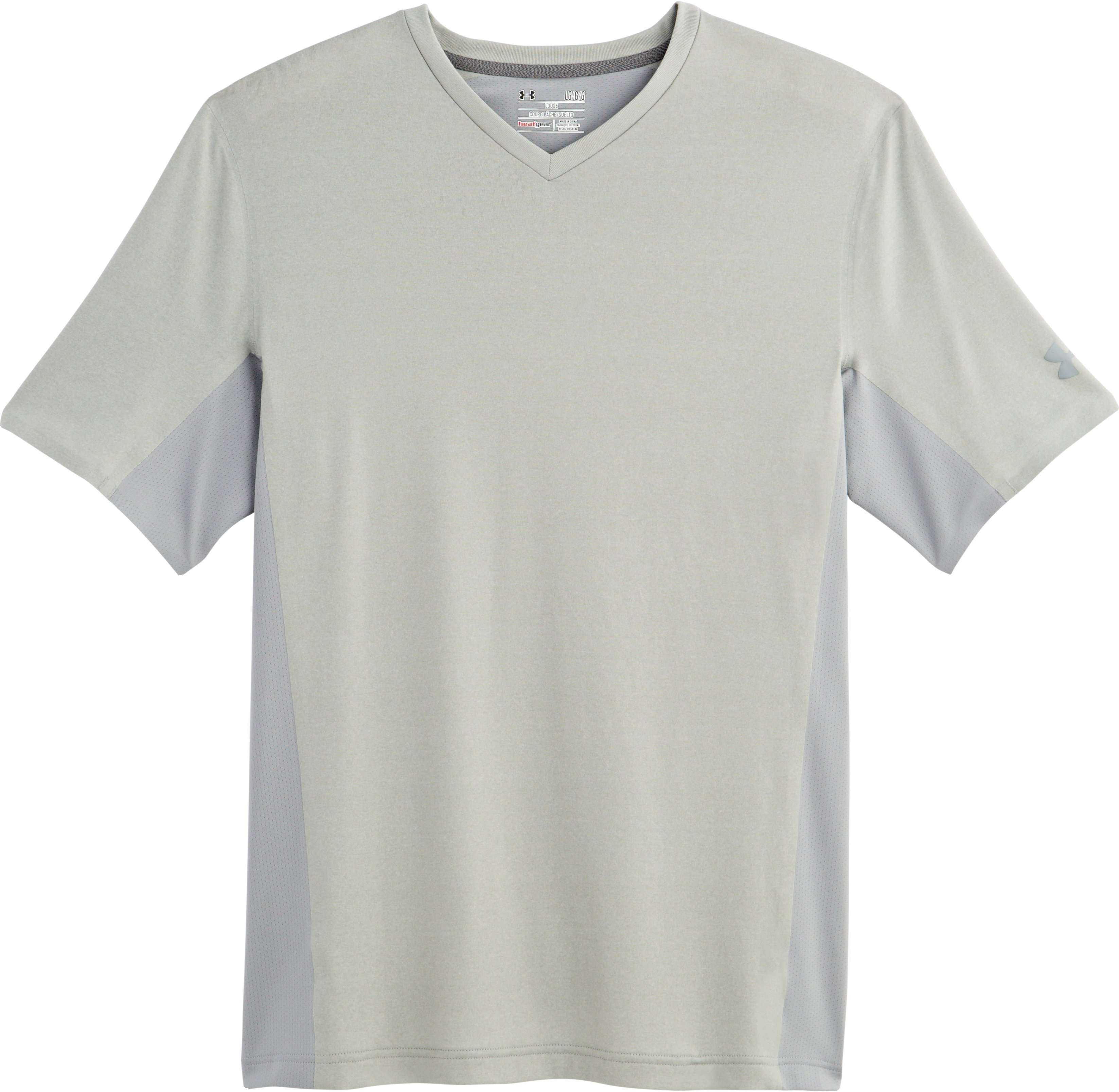 Men's UA Station V-Neck T-Shirt, True Gray Heather, Laydown