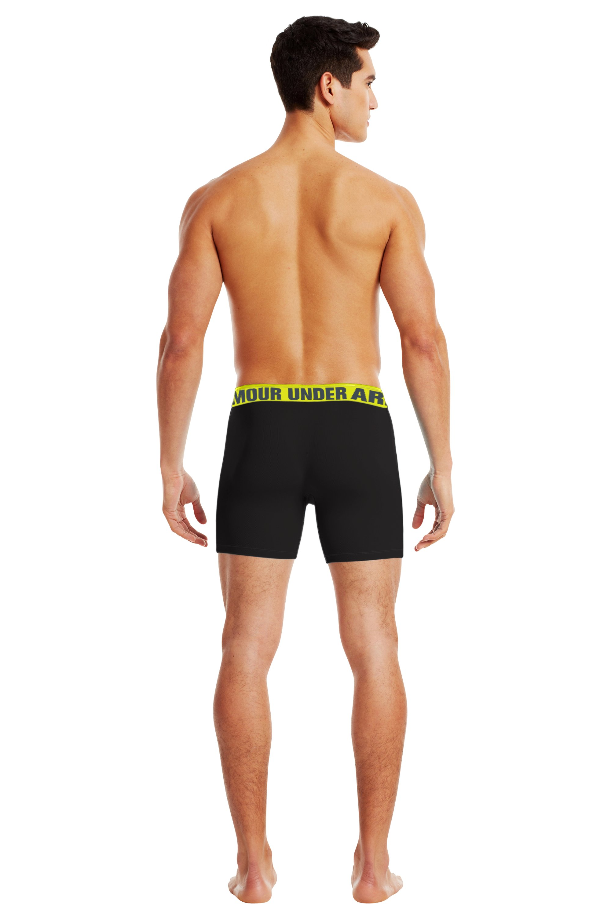 "Men's UA Ribbed 6"" Boxerjock® Boxer Briefs, Black , Back"