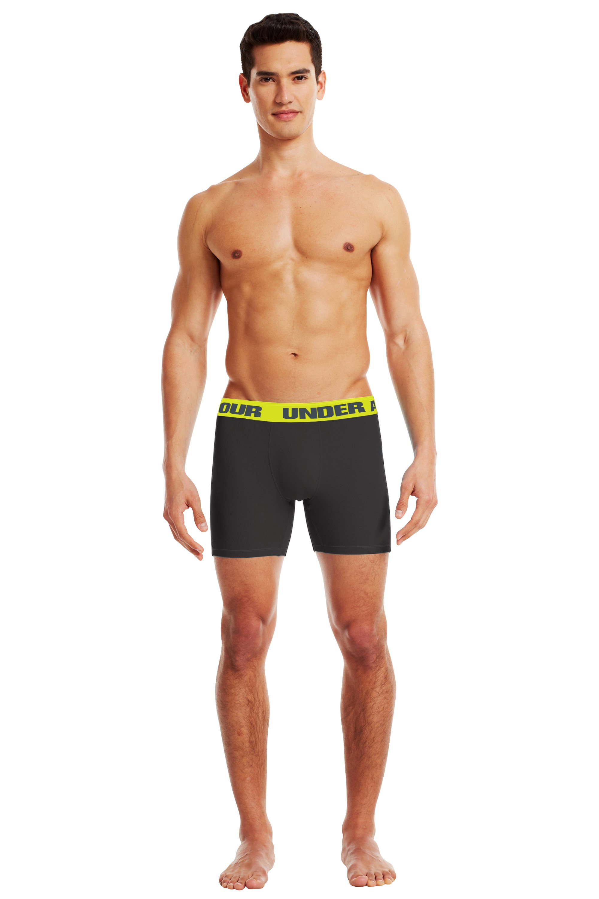"Men's UA Ribbed 6"" Boxerjock® Boxer Briefs, Black , Front"