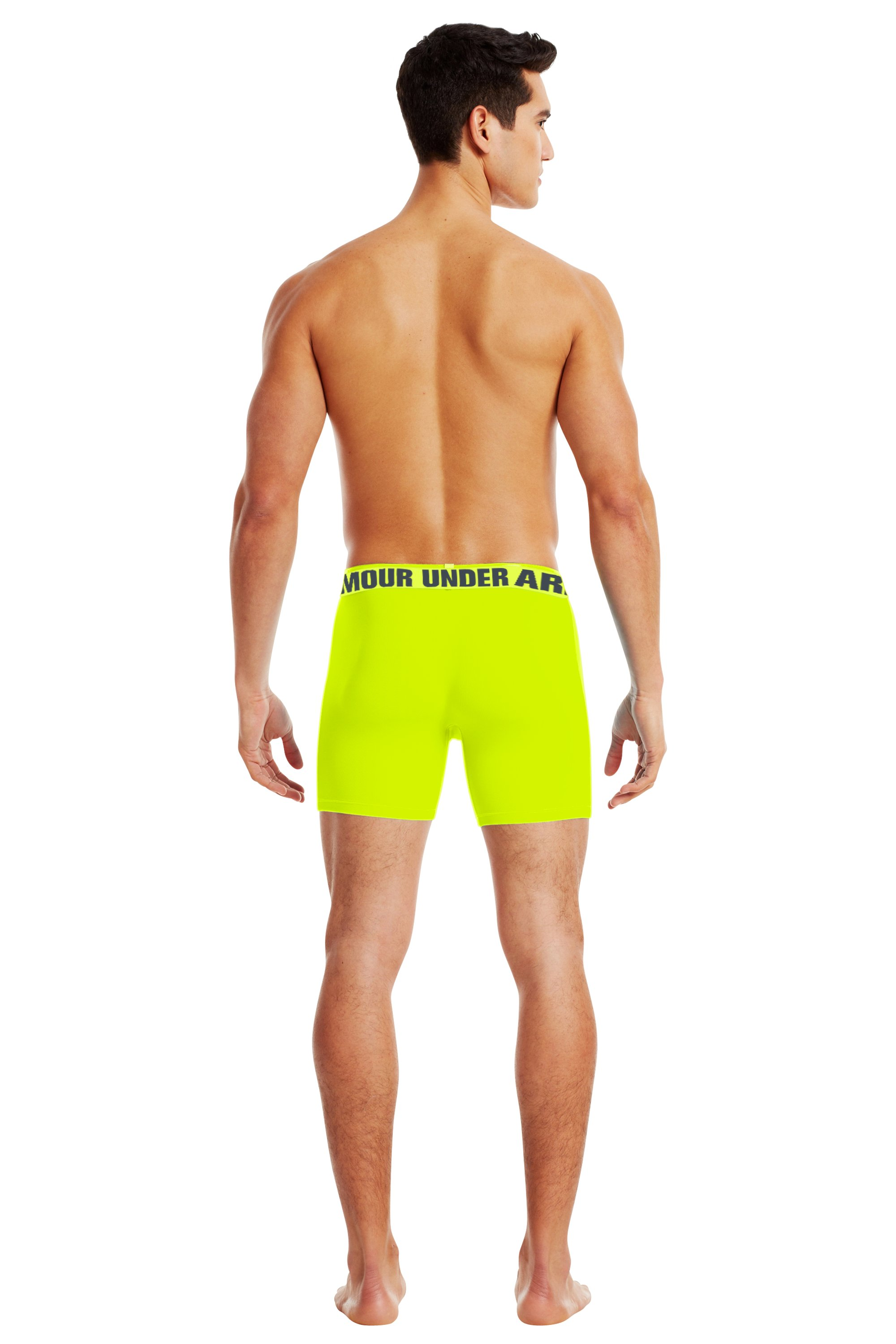 "Men's UA Ribbed 6"" Boxerjock® Boxer Briefs, High-Vis Yellow, Back"