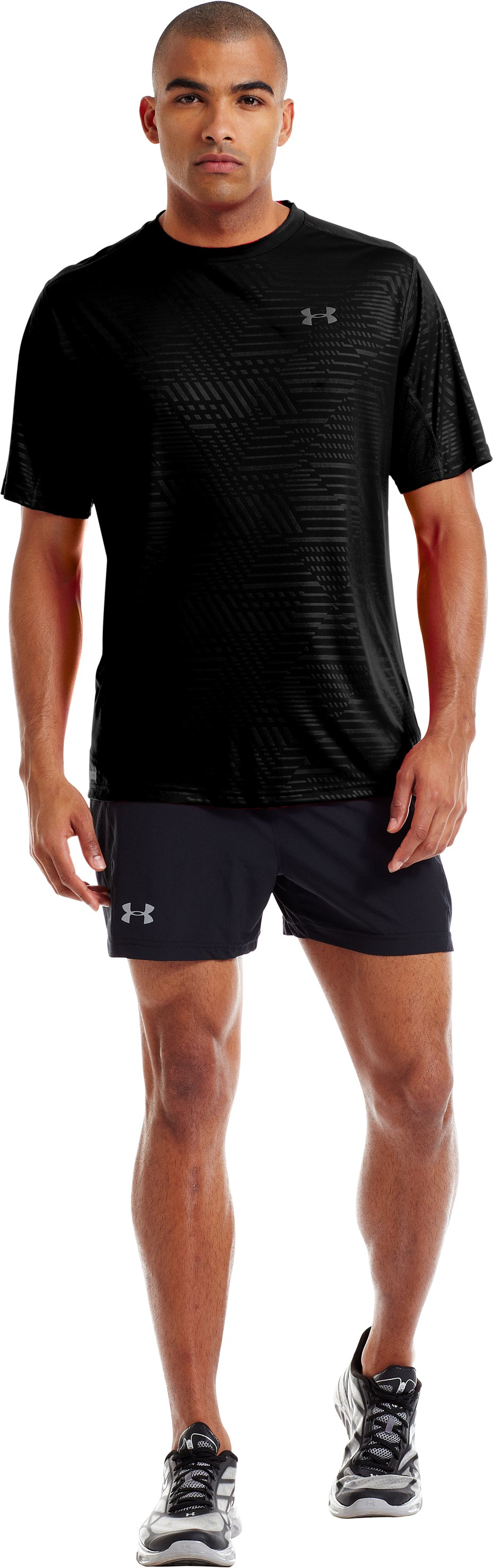 Men's HeatGear® Flyweight Run Printed Short Sleeve, Black