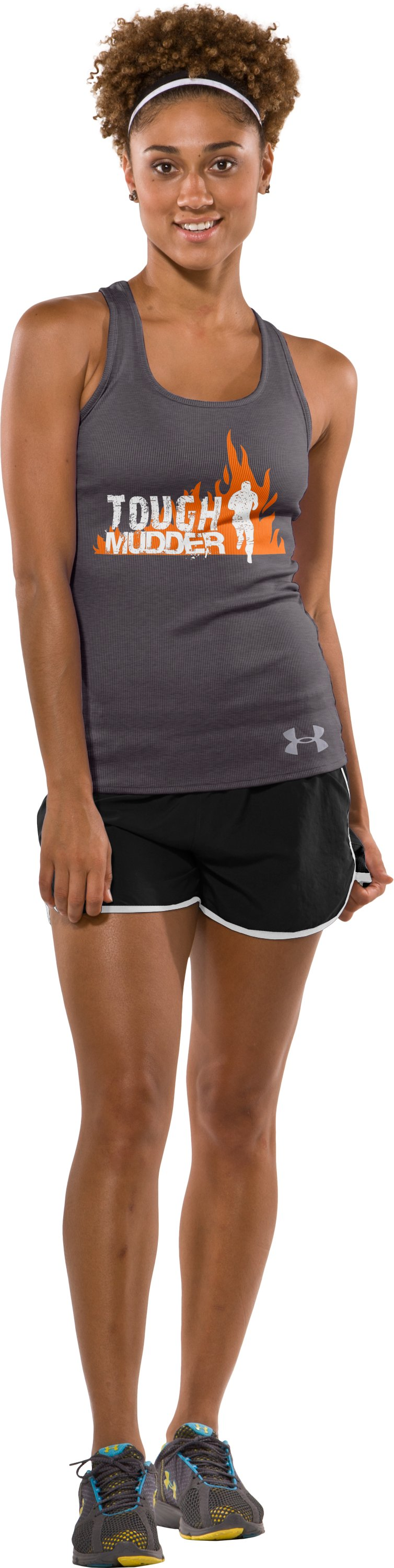 Women's UA Tough Mudder Tank, Carbon Heather, Front