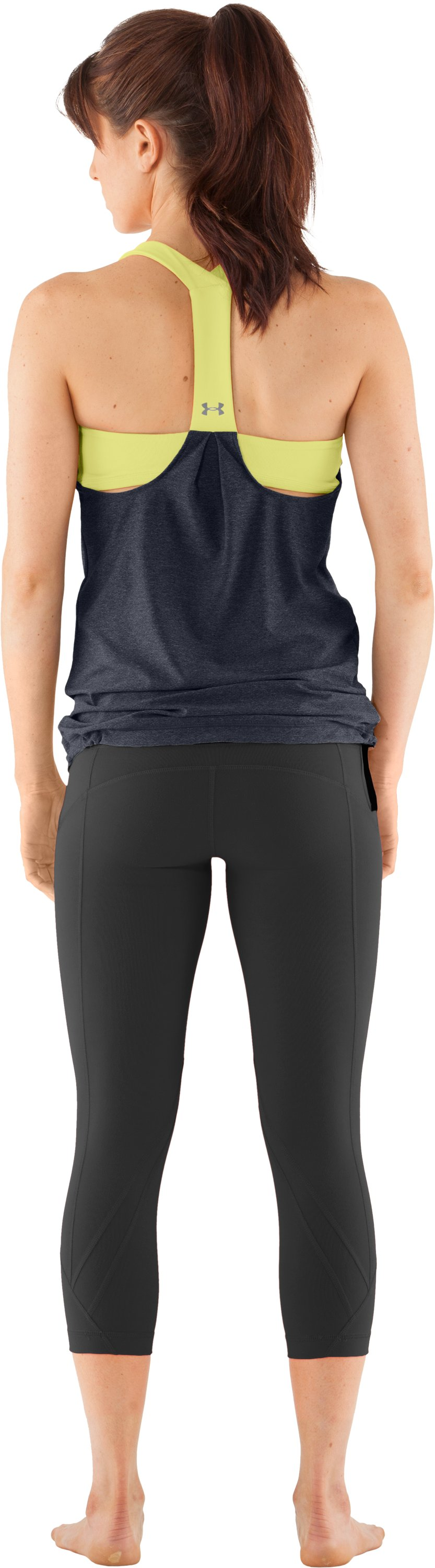 Women's UA Studio Rave N Flow Tank, ANTHRACITE, Back