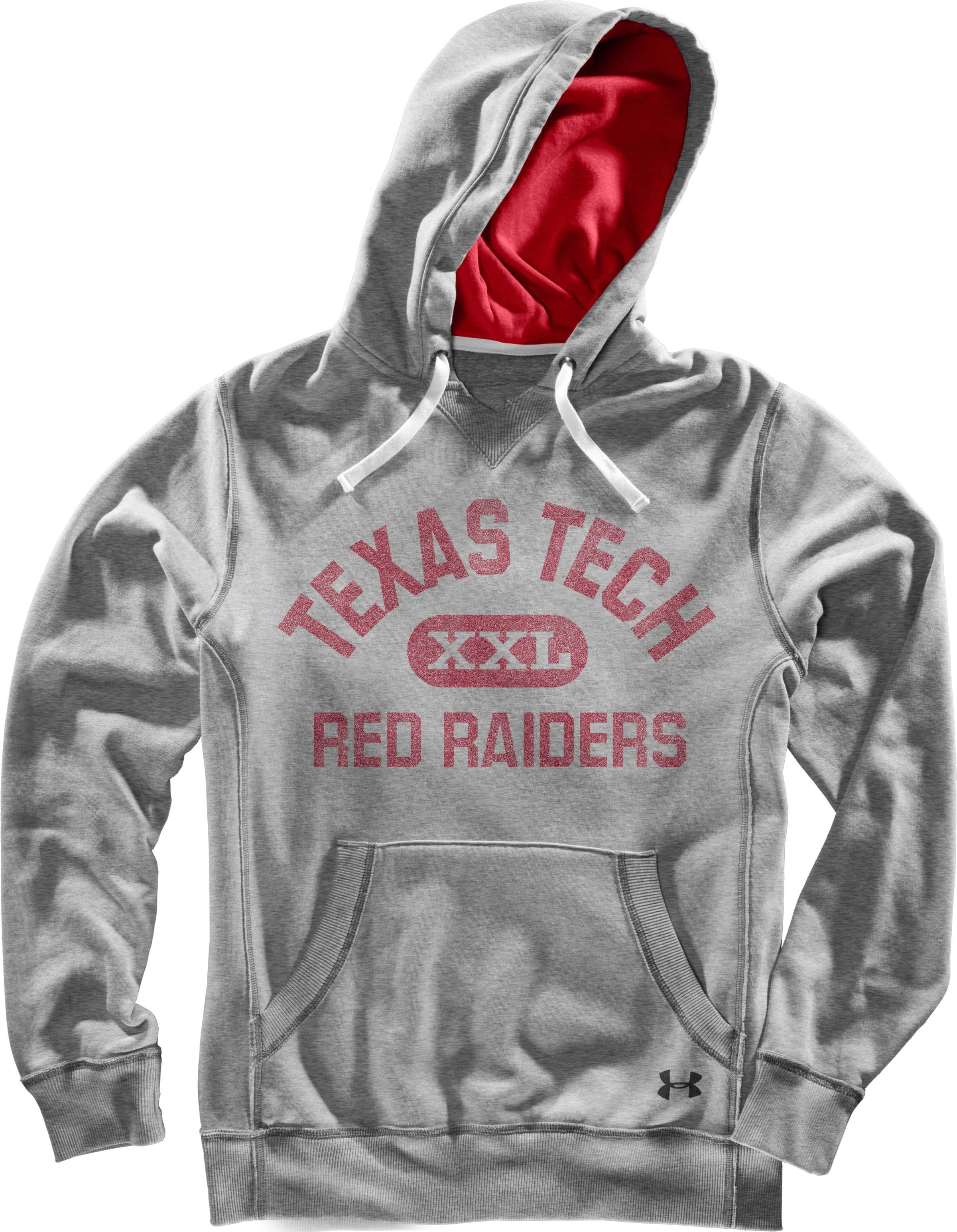 Men's Texas Tech Under Armour® Legacy Hoodie, True Gray Heather, Laydown
