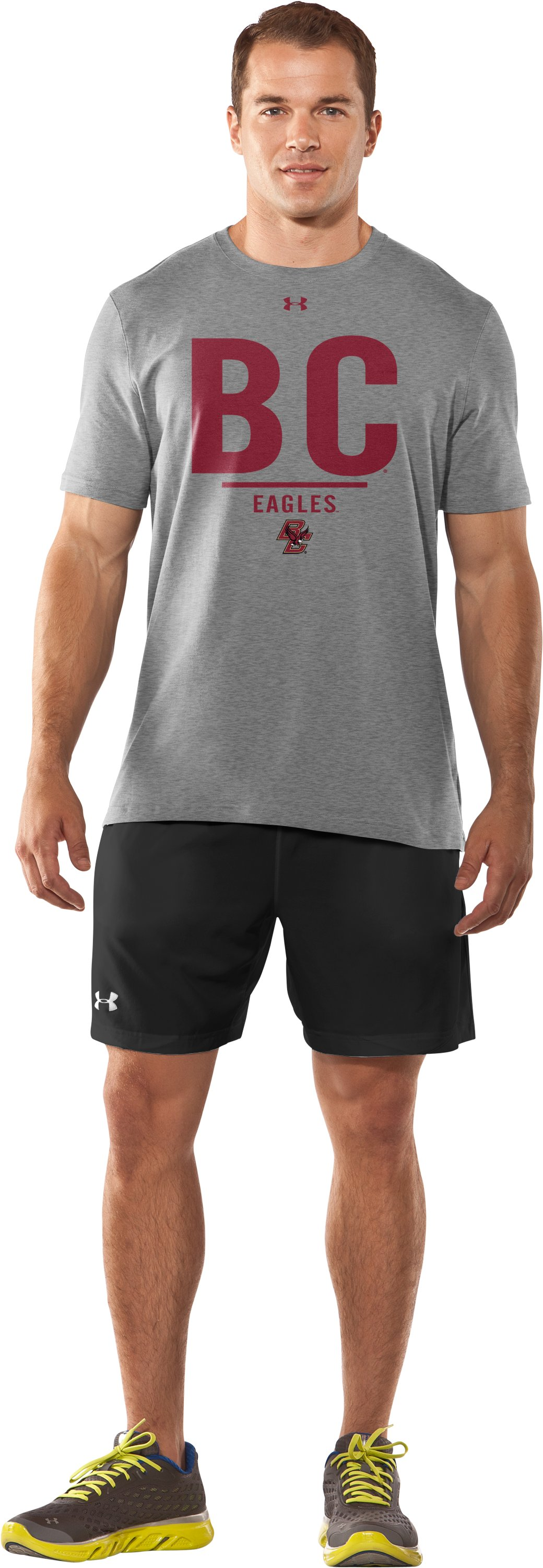 Men's Boston College Charged Cotton® T-Shirt, True Gray Heather, Front