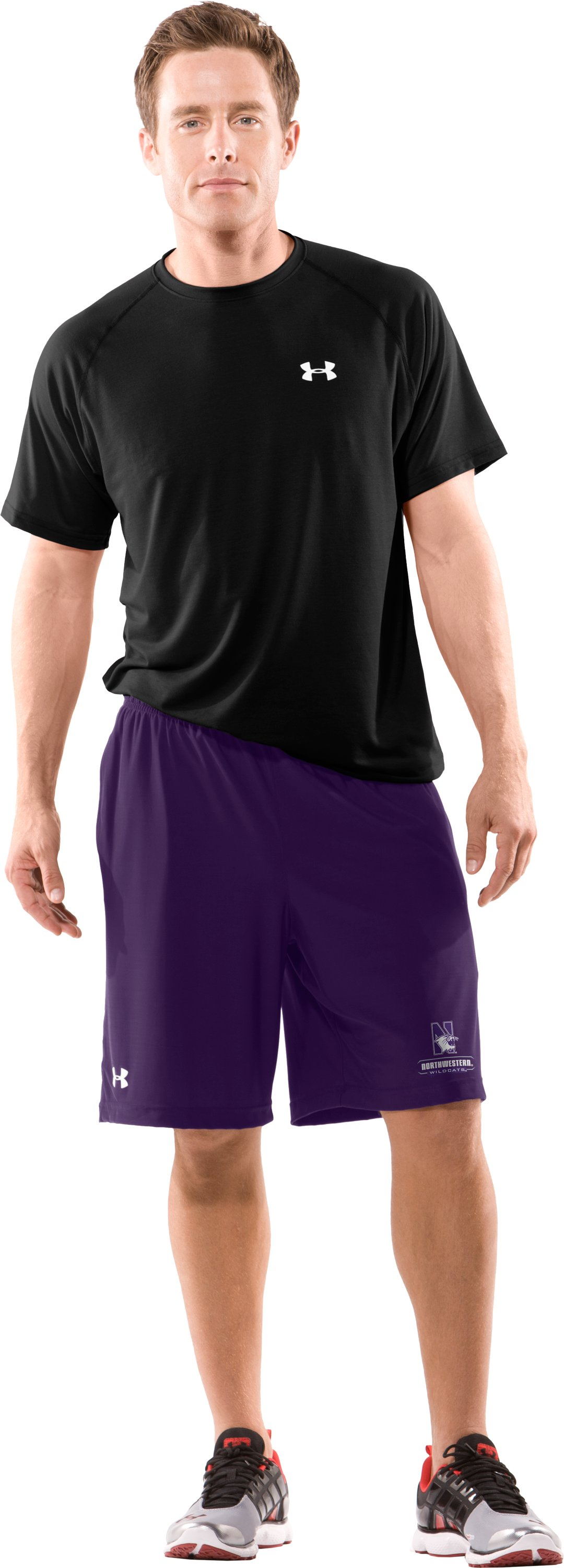 Men's Northwestern UA Micro Shorts, Purple, Front