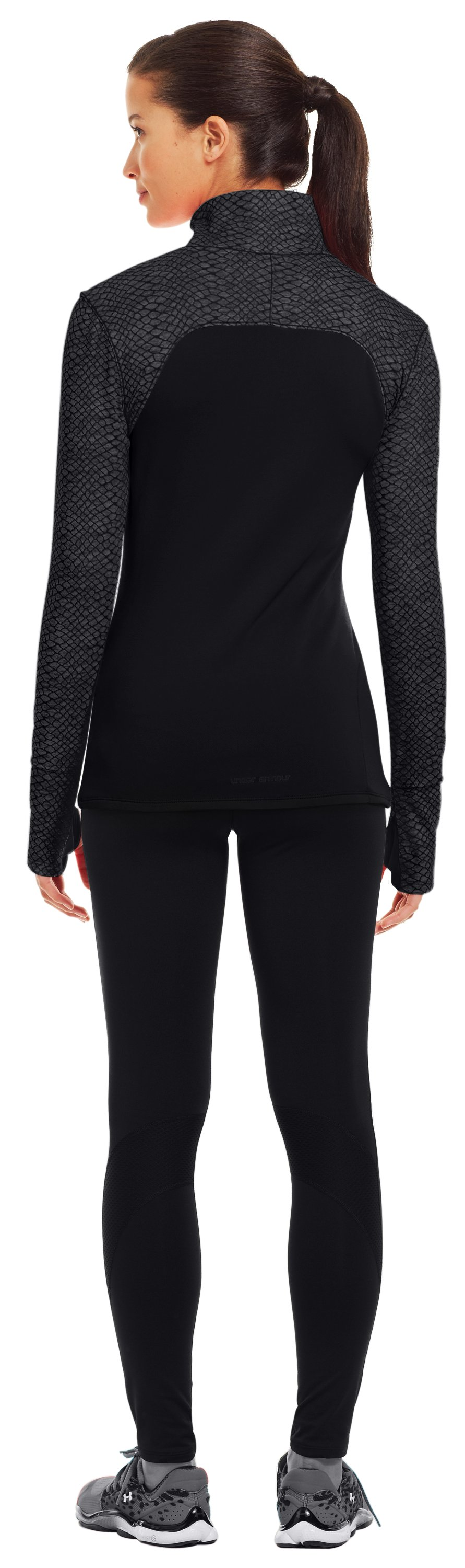 Women's UA Printed Qualifier ¼ Zip, Black , Back