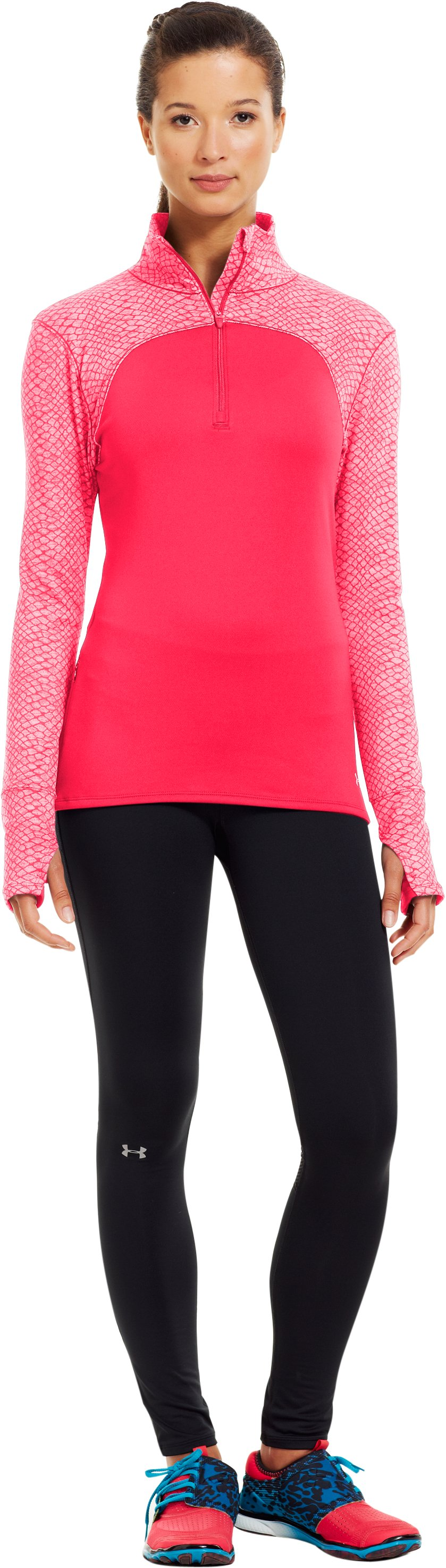 Women's UA Printed Qualifier ¼ Zip, Neo Pulse, zoomed image