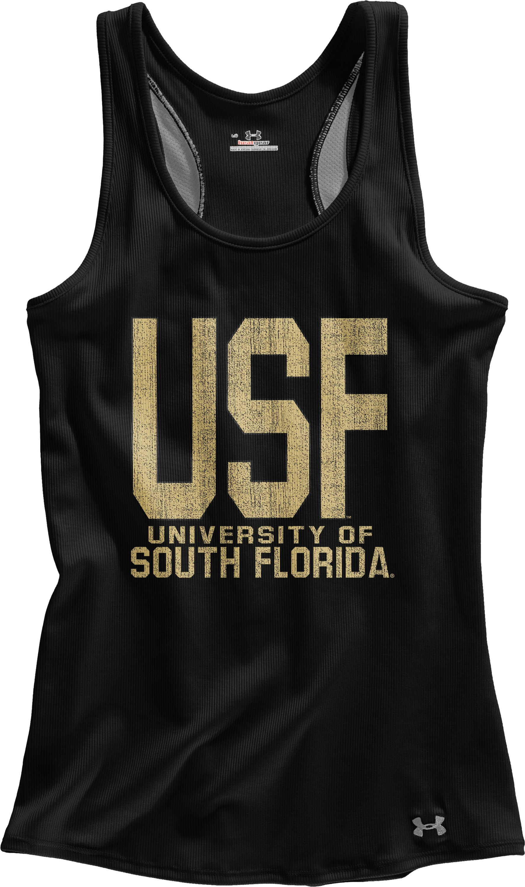 Women's South Florida UA Victory Tank, Black , Laydown