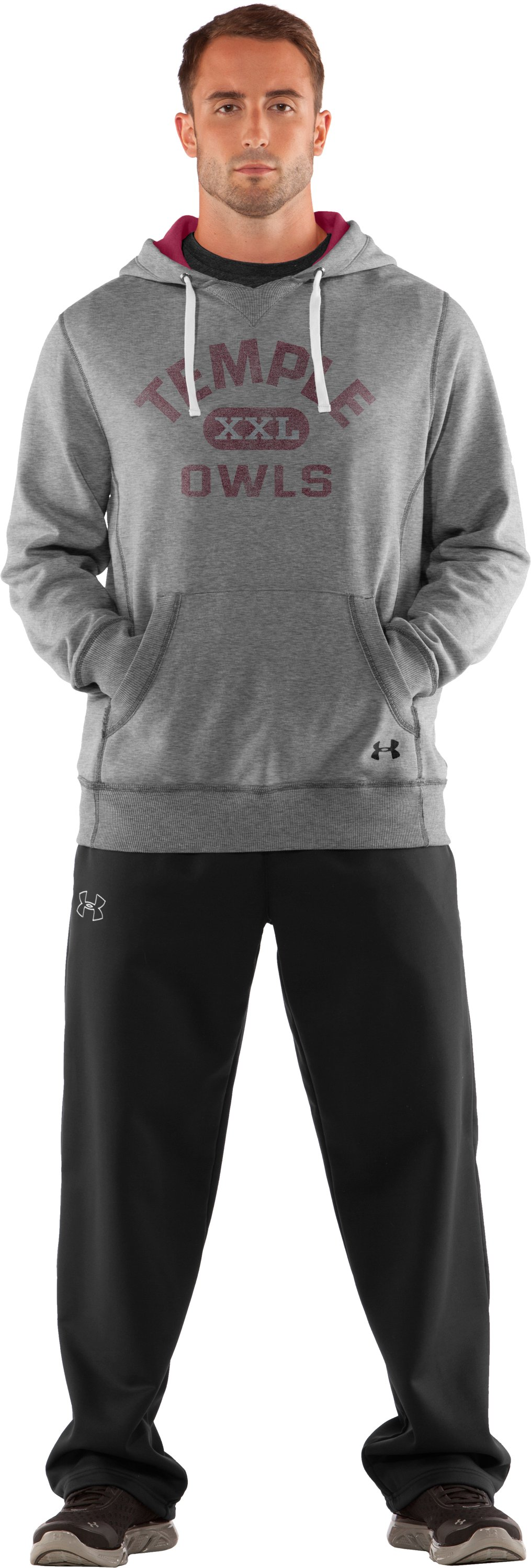 Men's Temple Under Armour® Legacy Hoodie, True Gray Heather, Front