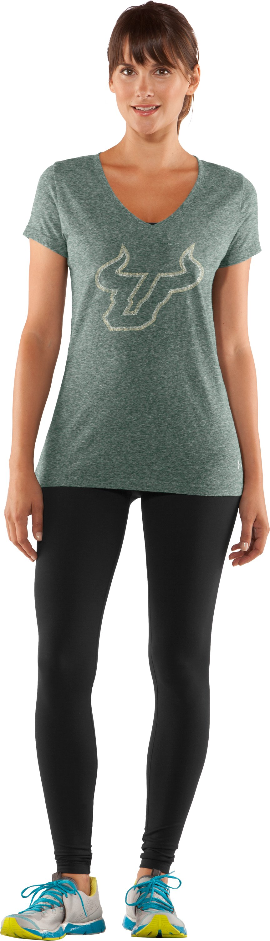 Women's South Florida Under Armour® Legacy T-Shirt, Forest Green, zoomed image