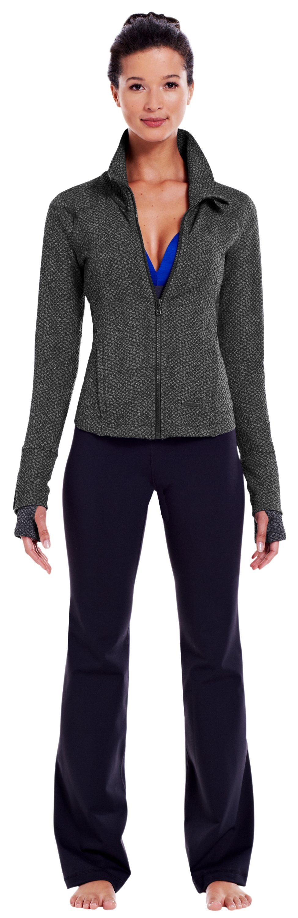 Women's UA StudioLux® Cozy Jacket, Carbon Heather, Front