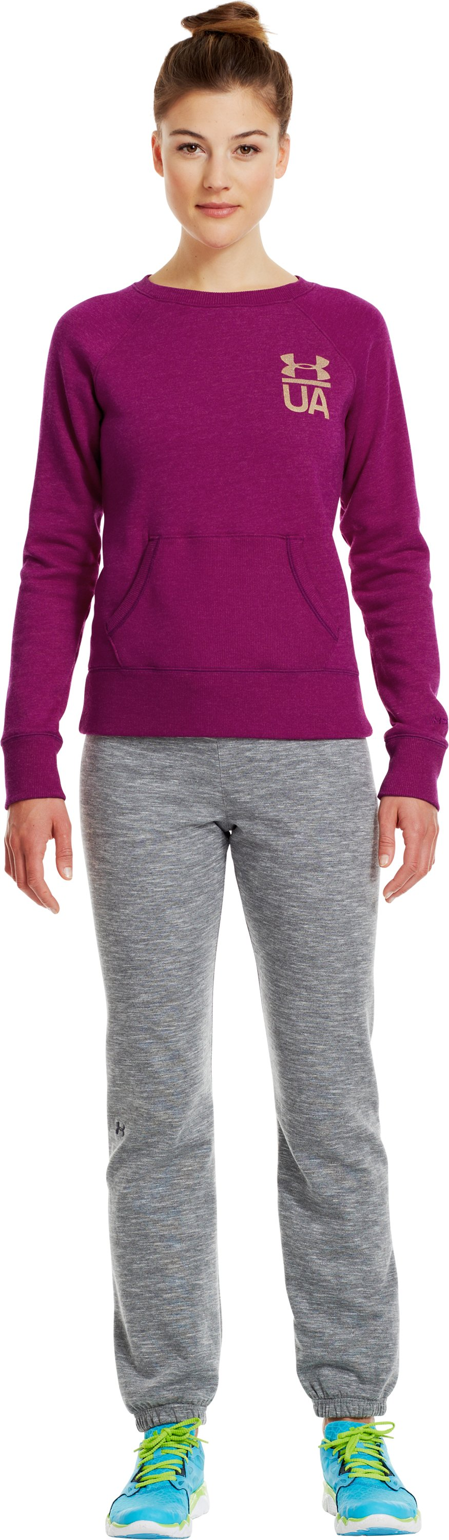 Women's Charged Cotton® Legacy Crew, Aubergine, Front