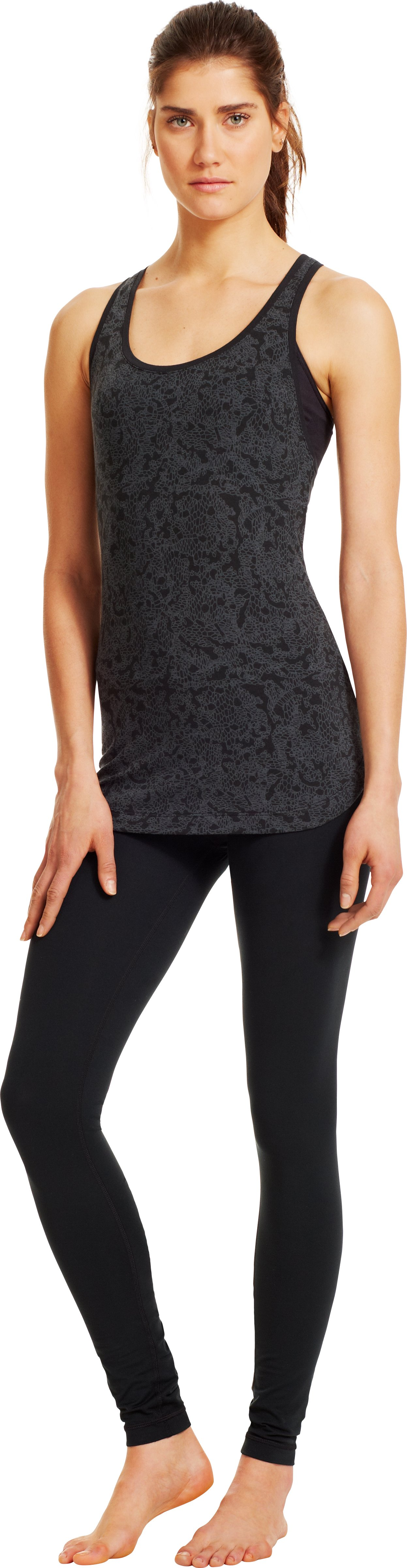 Women's UA Flow Printed Tank, Black , Front