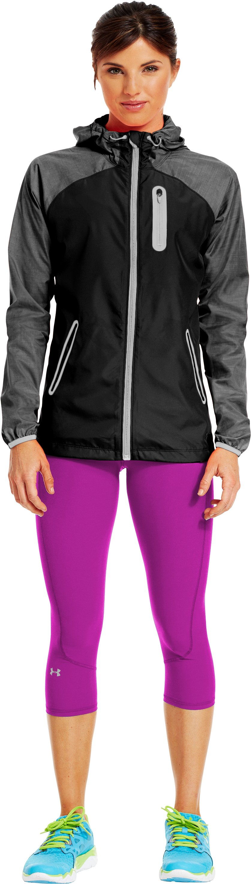 "Women's UA Run Stretch Woven 17"" Capri, STROBE, Front"