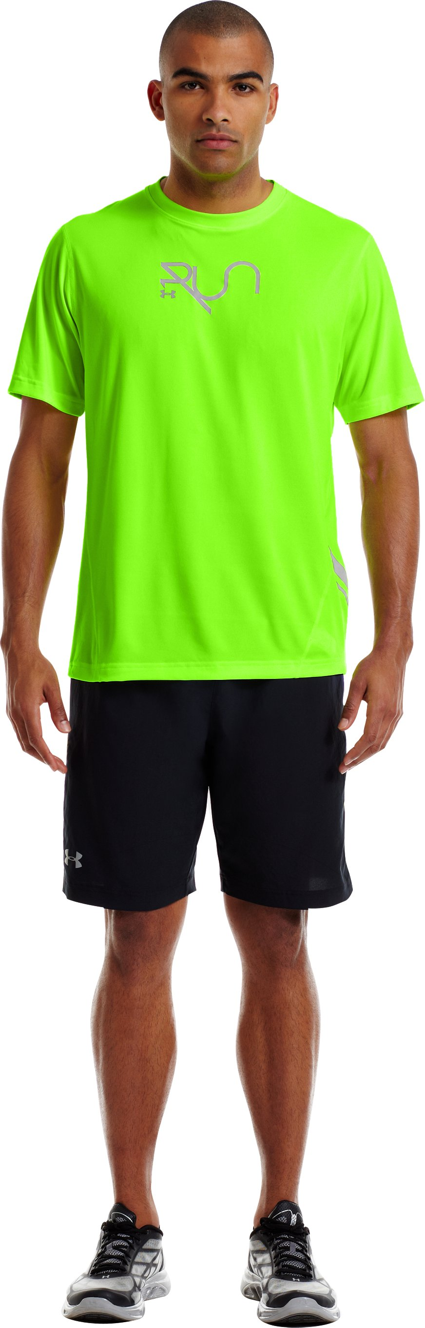 Men's UA Run Reflective T-Shirt, HYPER GREEN, Front