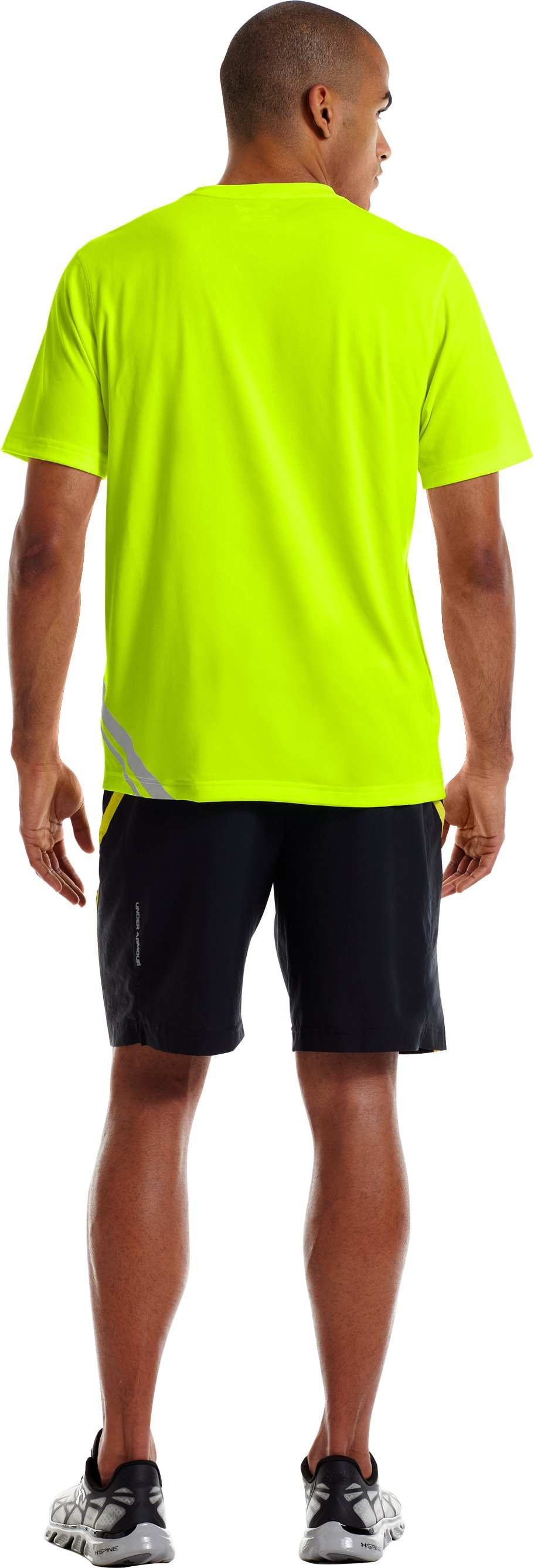 Men's UA Run Reflective T-Shirt, High-Vis Yellow, Back