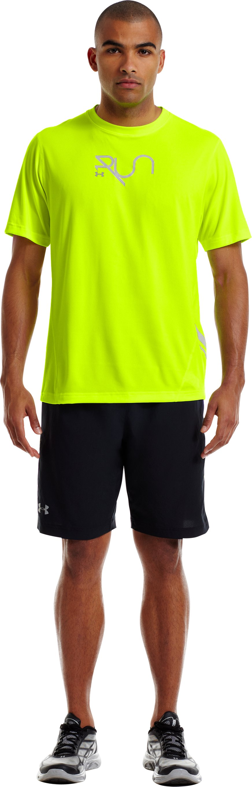Men's UA Run Reflective T-Shirt, High-Vis Yellow, Front
